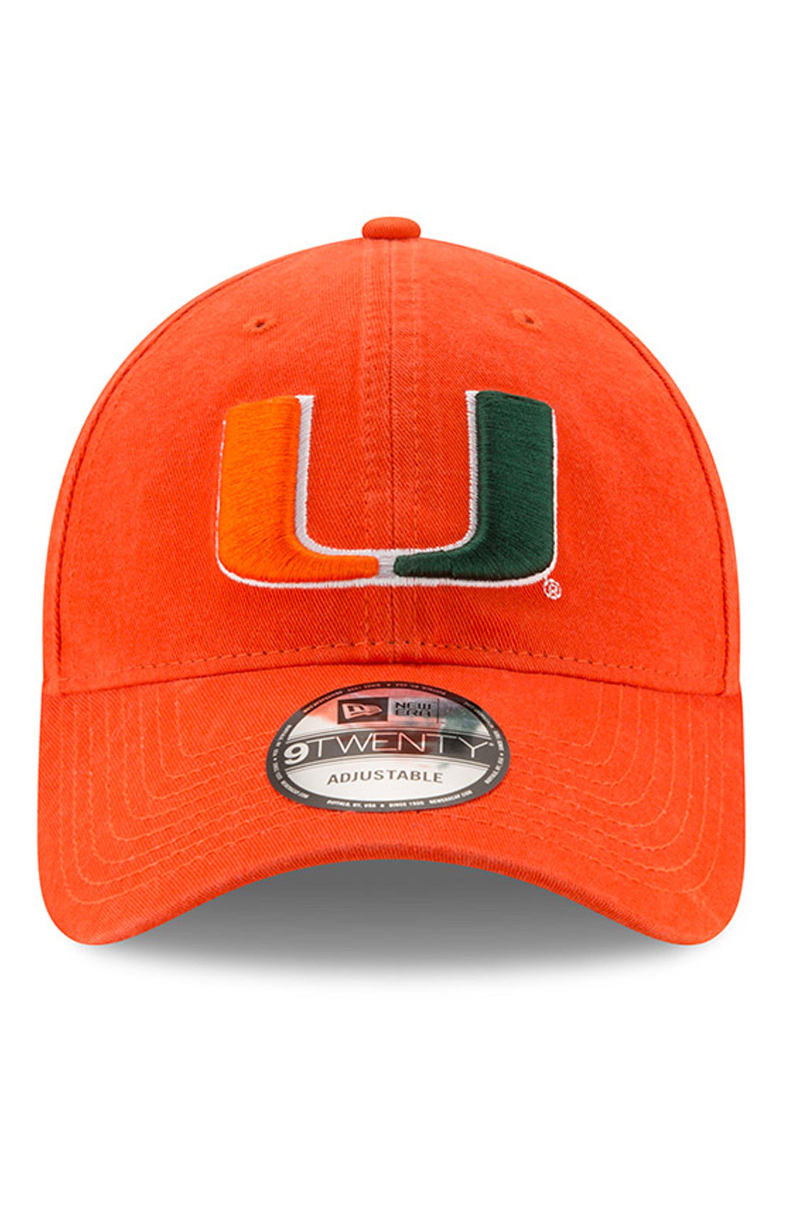New Era Collegiate Core Classic - Miami Hurricanes Baseball Cap,                             Alternate thumbnail 2, color,