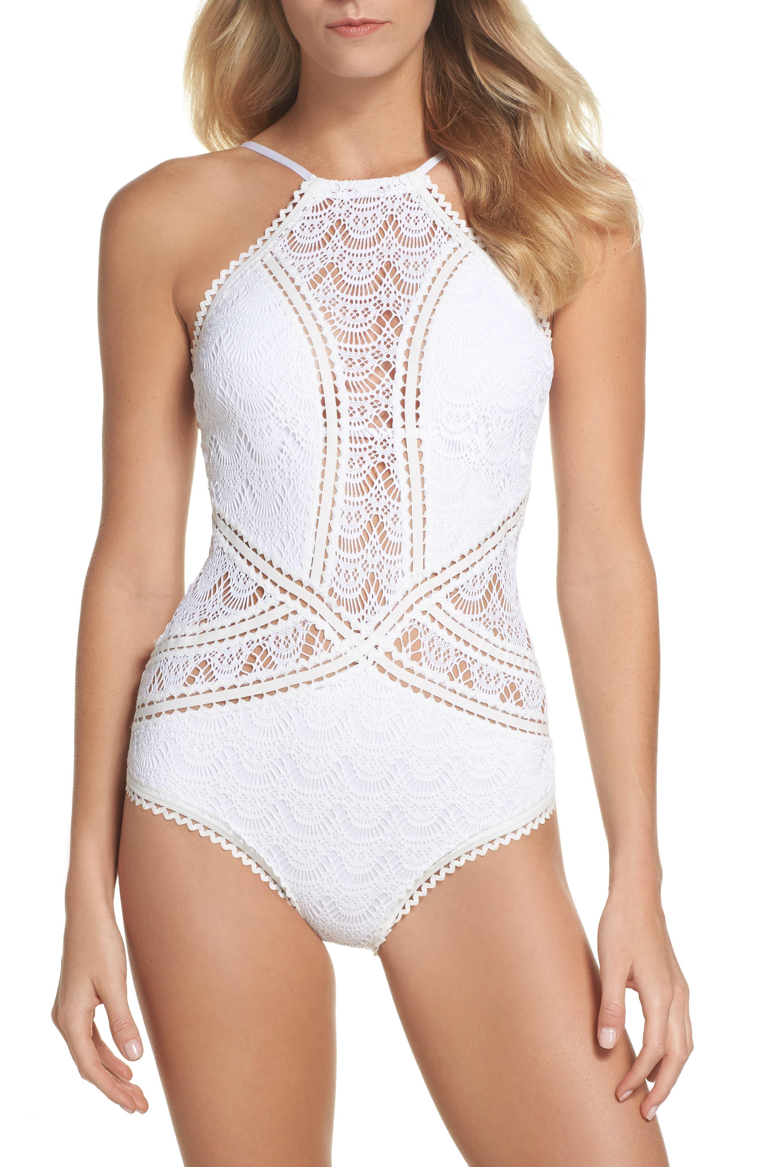 Crochet One-Piece Swimsuit,                         Main,                         color, WHITE
