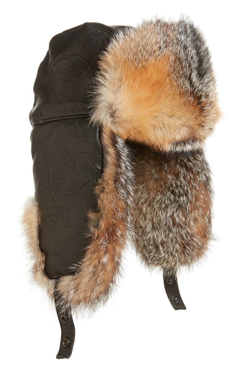 Crown Cap Leather Trapper Hat with Genuine Fox Fur Lining  d96e7e28971