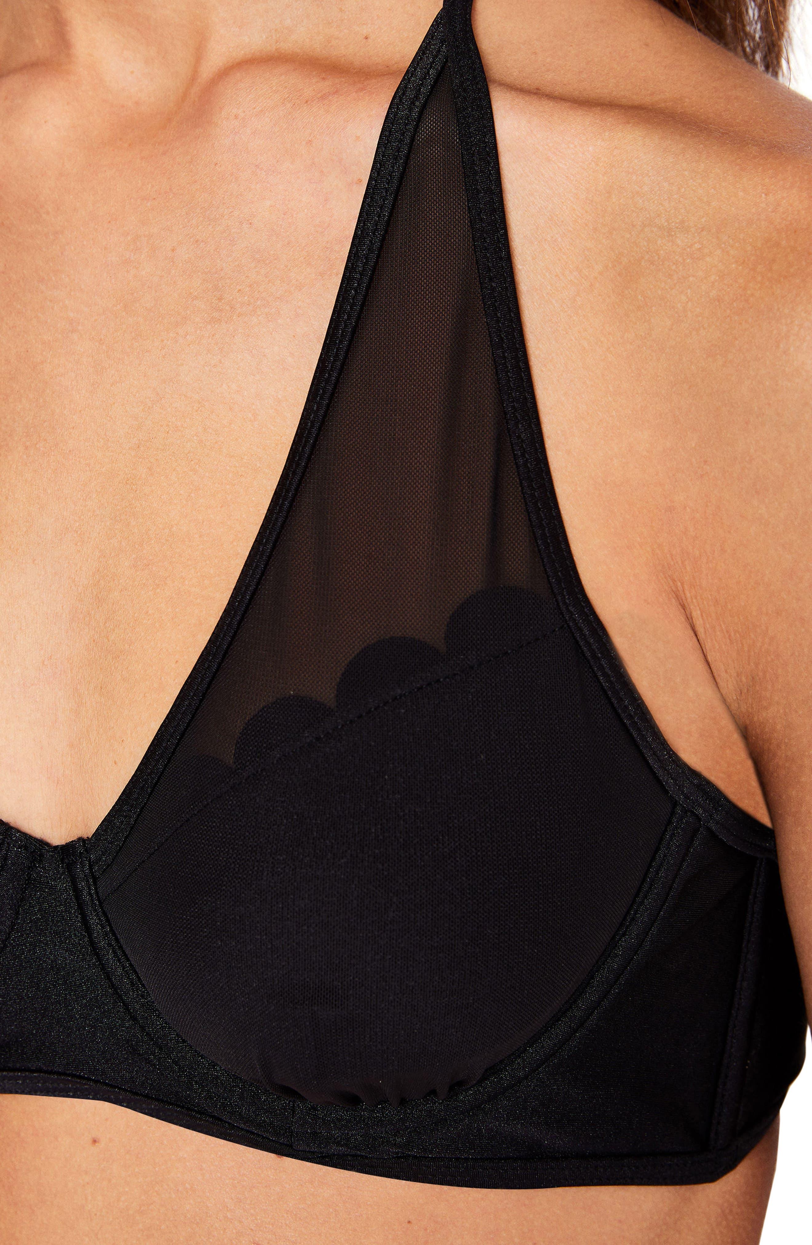 Scallop Mesh Underwire Bikini Top,                             Alternate thumbnail 5, color,                             001