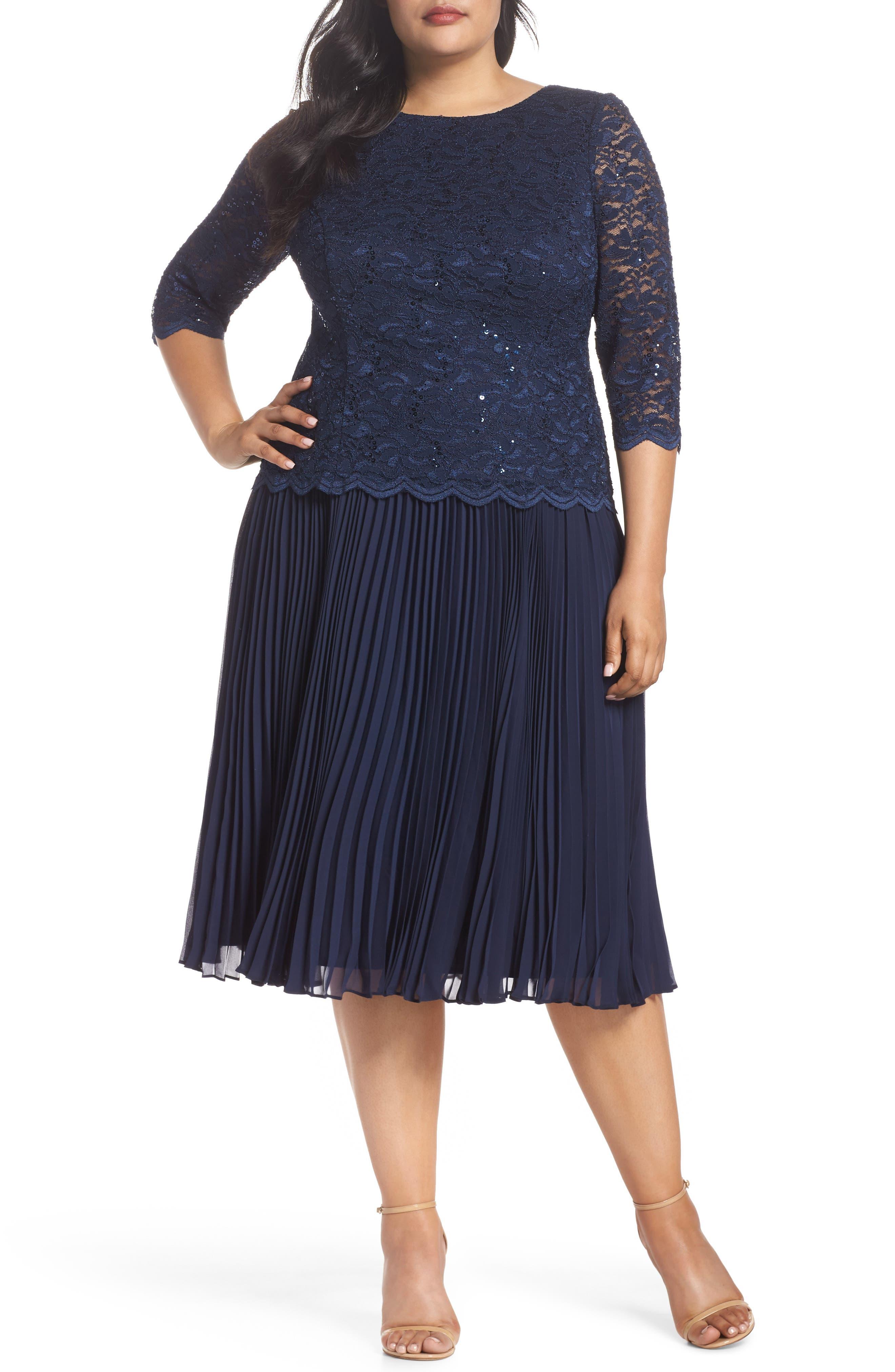 Plus Size Vintage Dresses, Plus Size Retro Dresses Plus Size Womens Alex Evenings Mock Two-Piece Tea Length Dress $143.40 AT vintagedancer.com