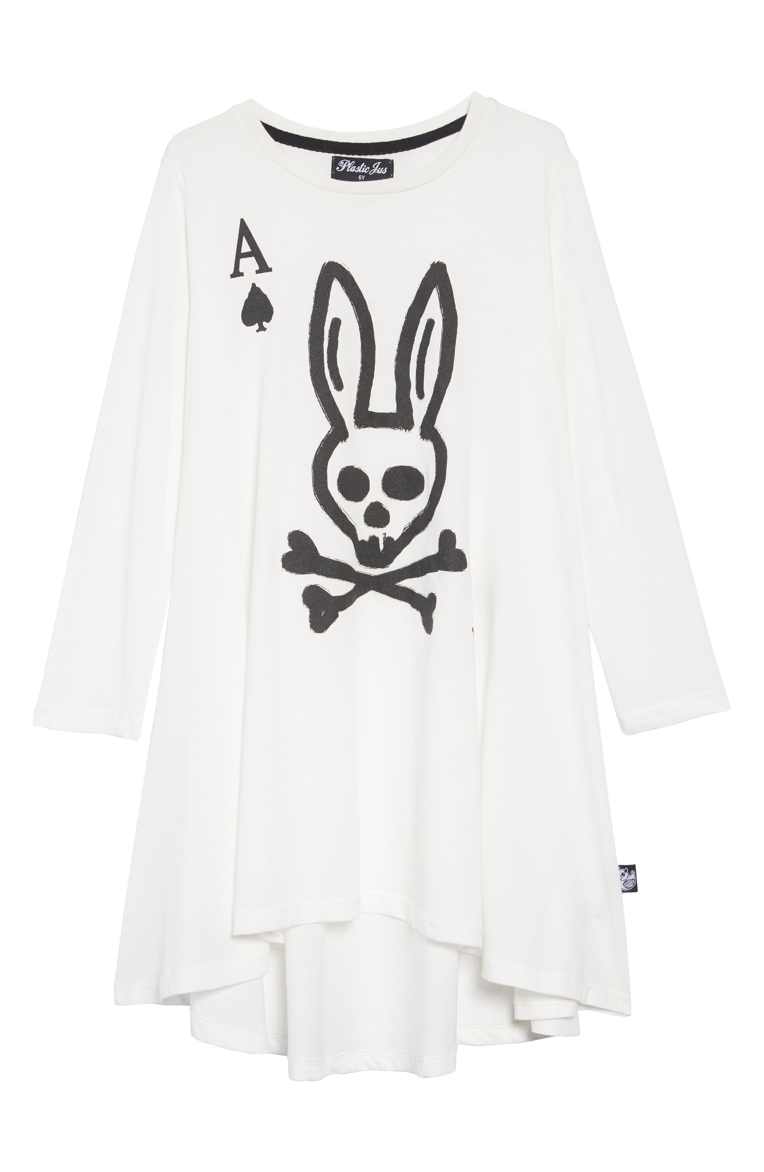 Skull Bunny Ace Twirling Dress,                             Main thumbnail 1, color,                             WHITE