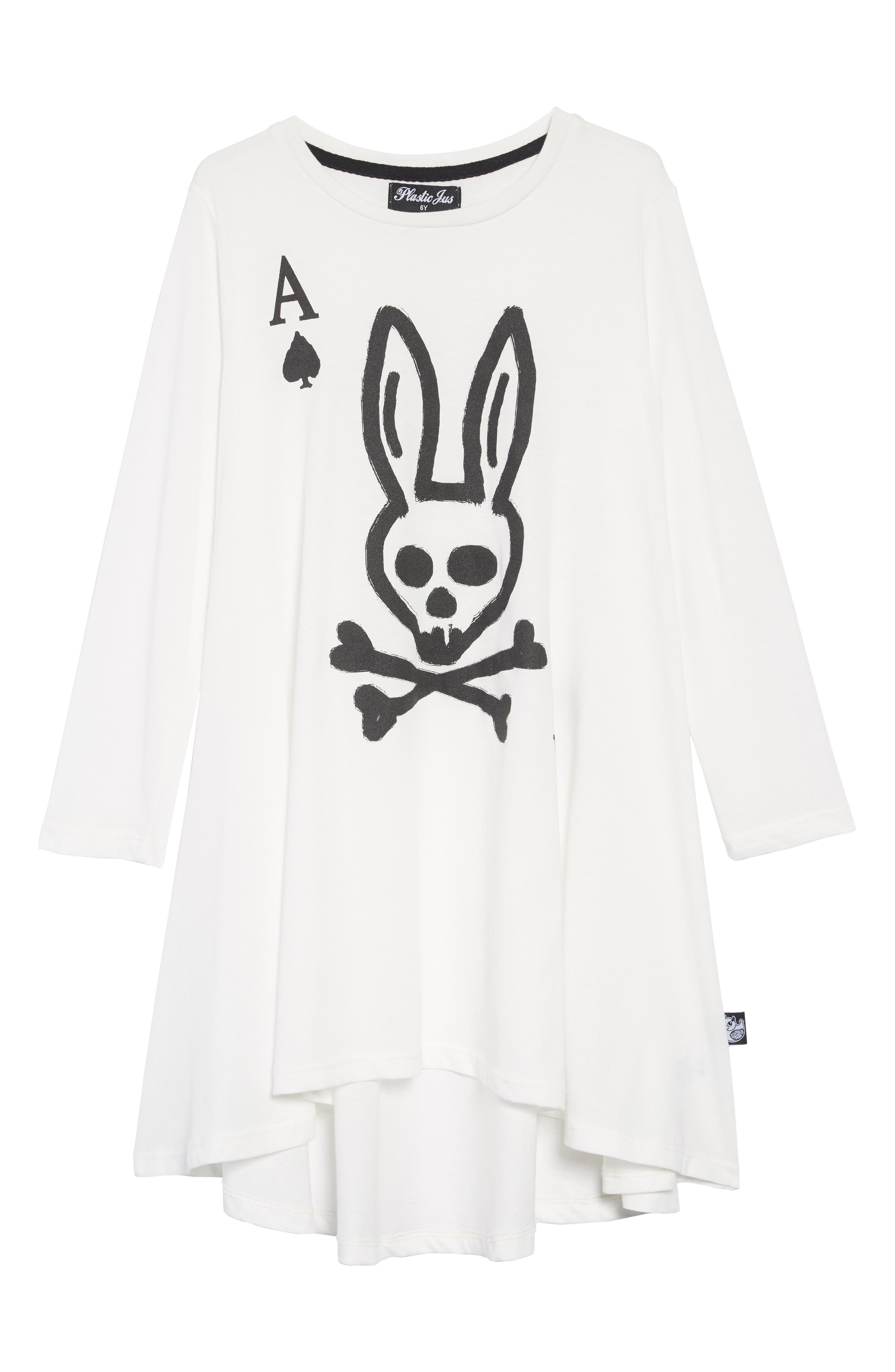 Skull Bunny Ace Twirling Dress,                         Main,                         color, WHITE