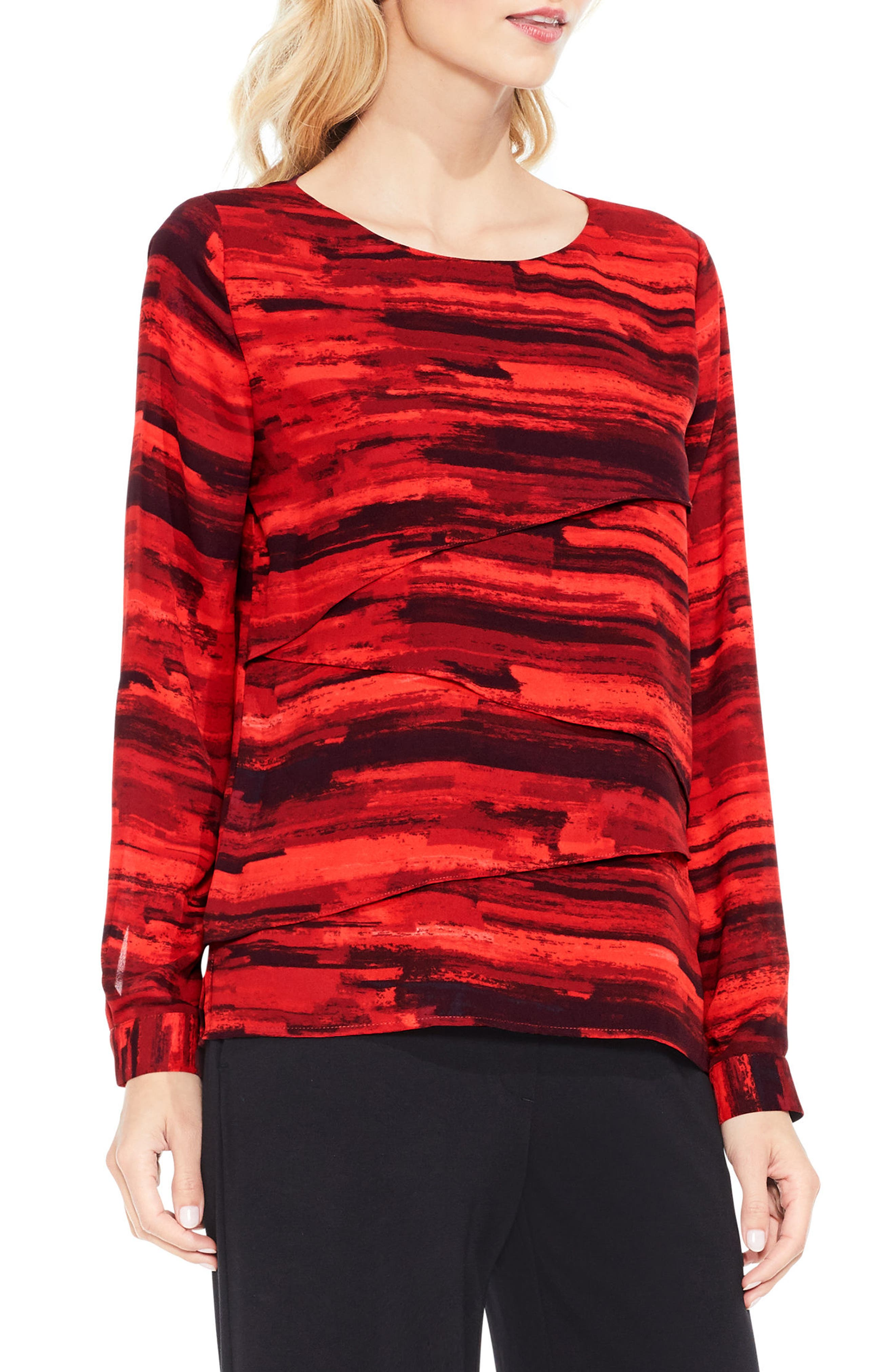 Muses Print Tiered Blouse,                             Main thumbnail 1, color,                             614