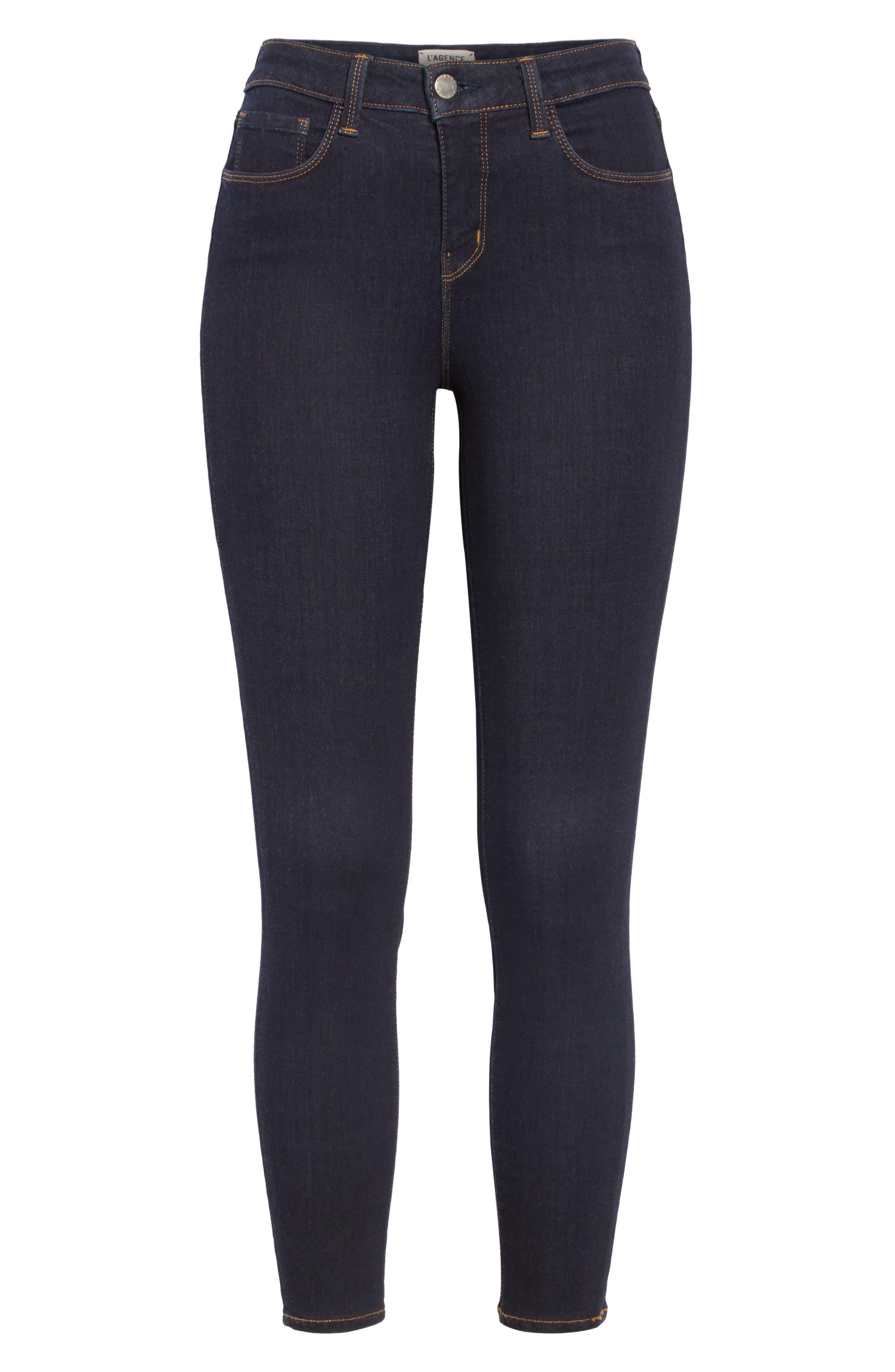 Margot High Waist Crop Jeans,                             Alternate thumbnail 7, color,                             MIDNIGHT