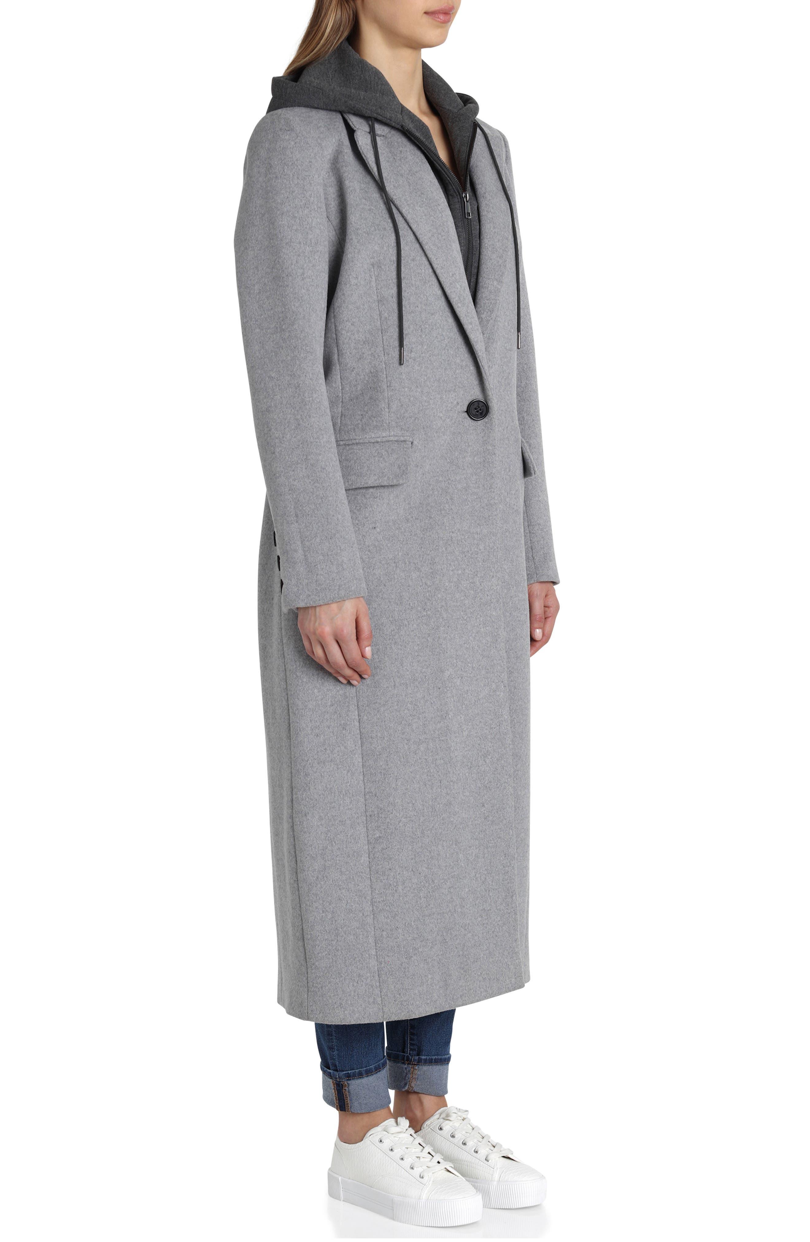 Wool Blend Coat,                             Alternate thumbnail 3, color,                             GREY
