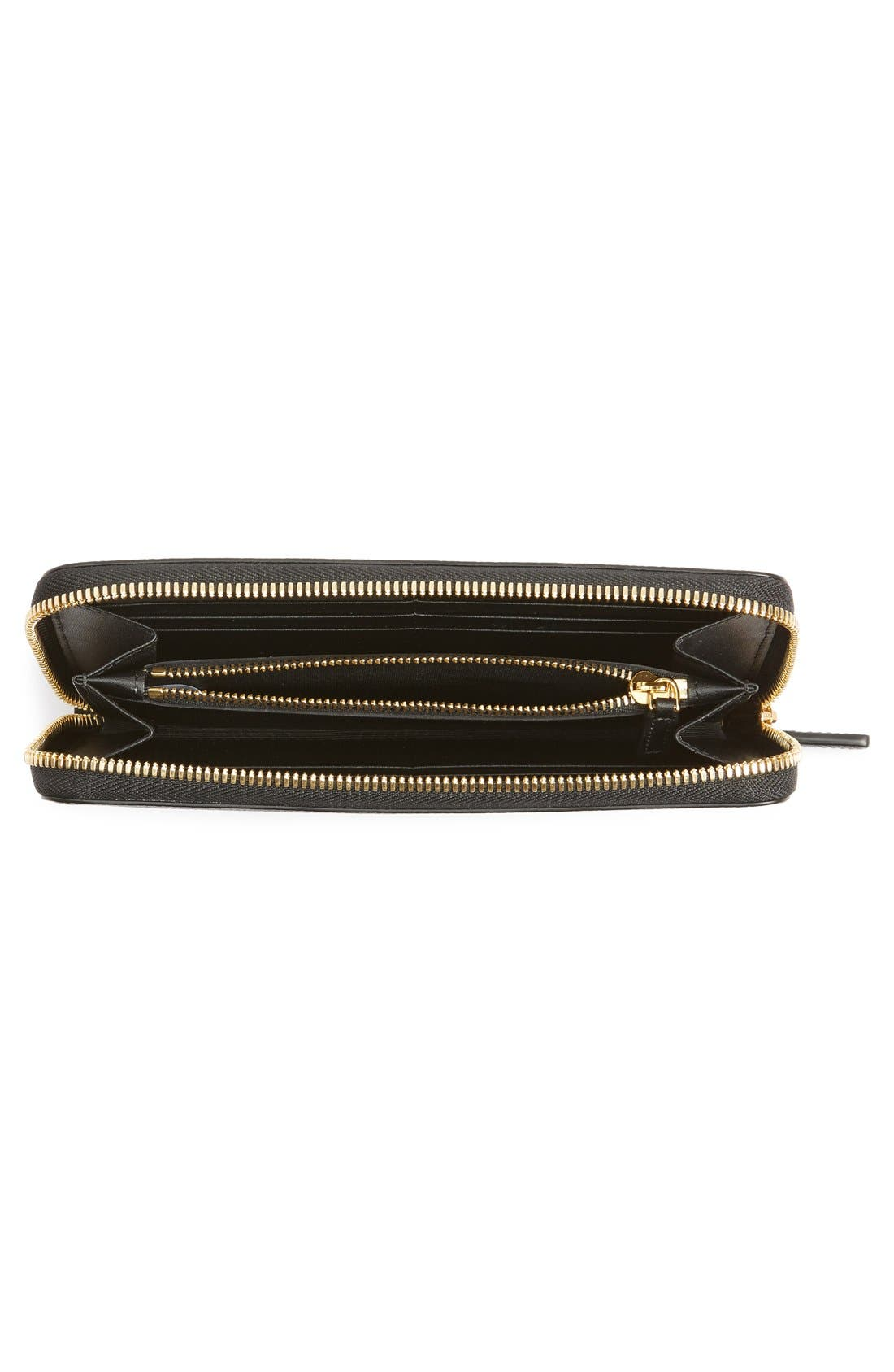 Milla Leather Zip Around Wallet,                             Alternate thumbnail 4, color,                             001