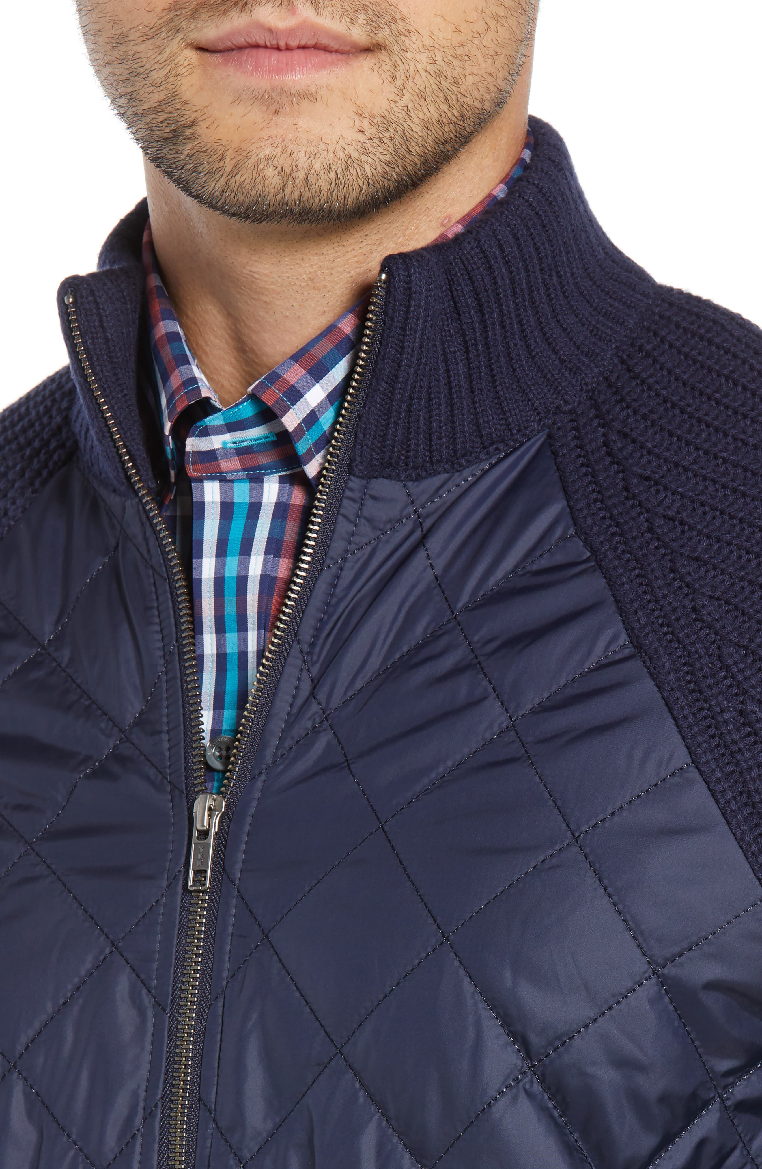 Quilted Zip Sweater,                             Alternate thumbnail 4, color,                             LIBERTY NAVY