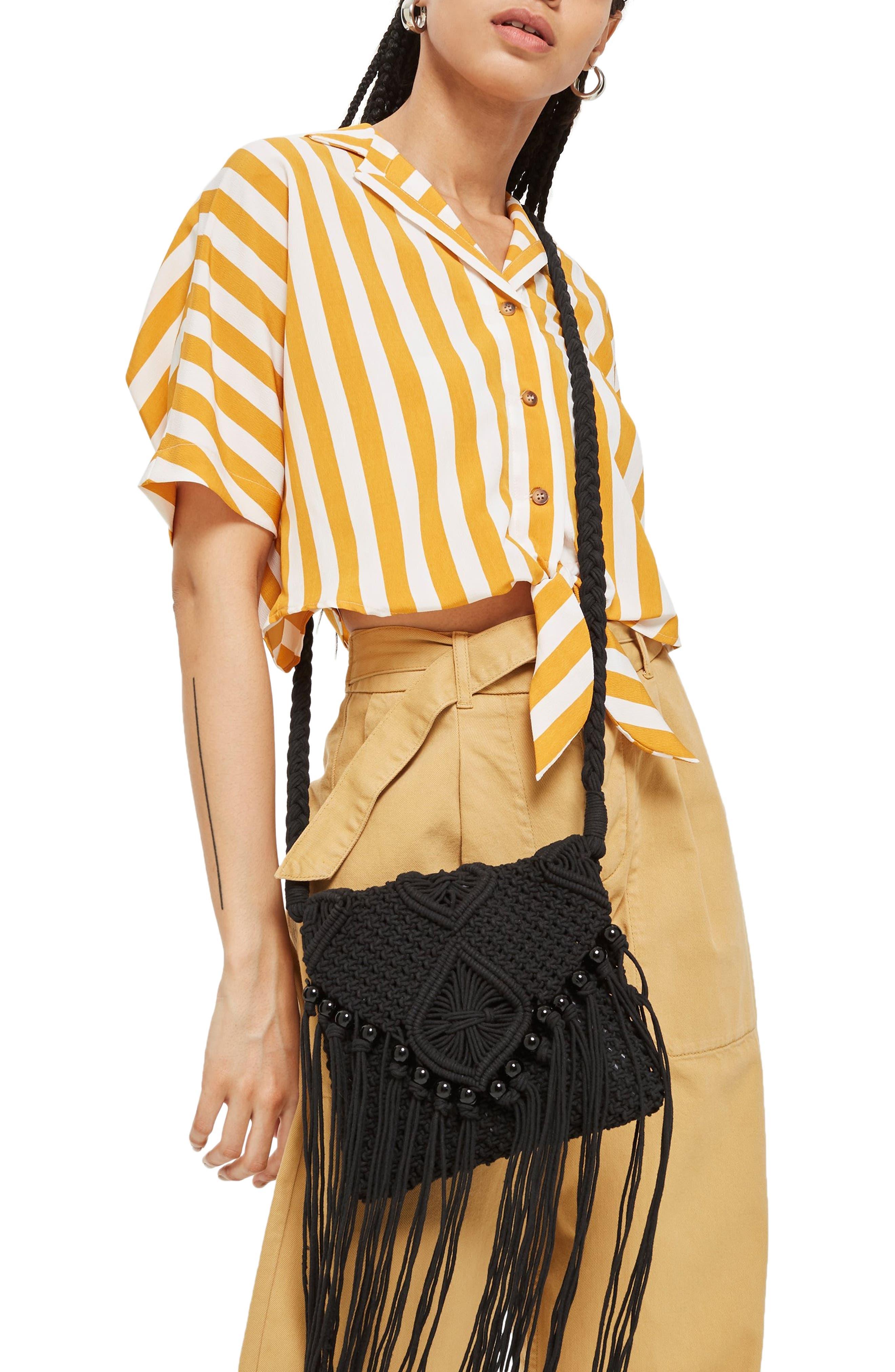 Macrame Crossbody Bag,                             Alternate thumbnail 2, color,                             BLACK