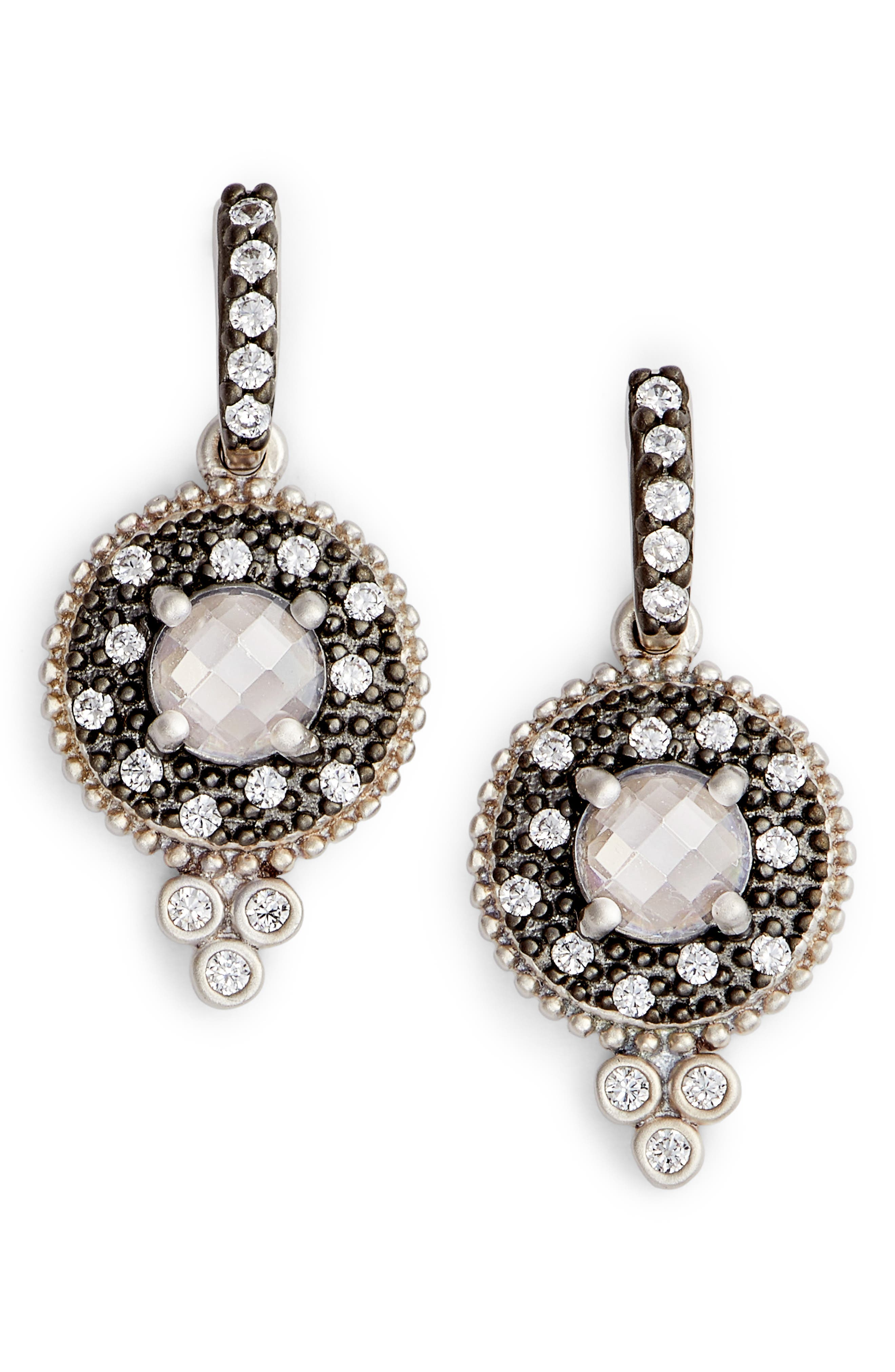 Single Stone Drop Earrings,                         Main,                         color, BLACK/ WHITE/ SILVER
