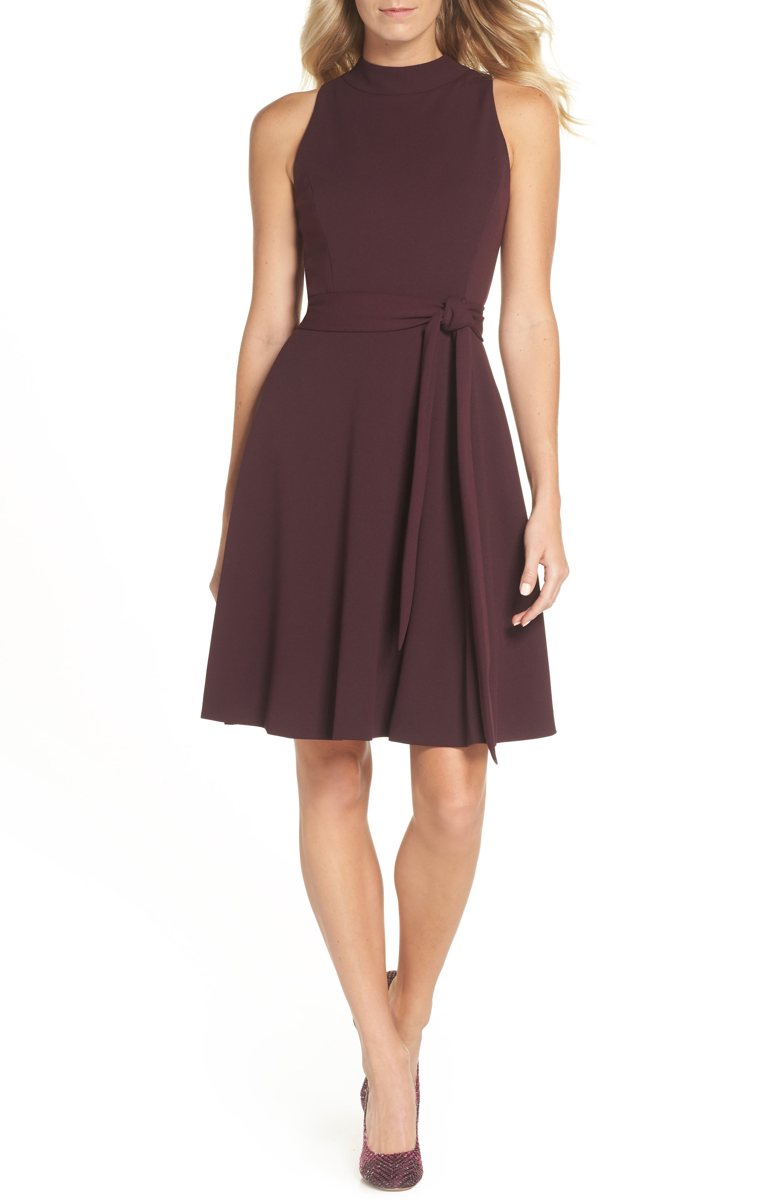 High Neck Scuba Crepe A-Line Dress,                             Main thumbnail 1, color,                             FIG