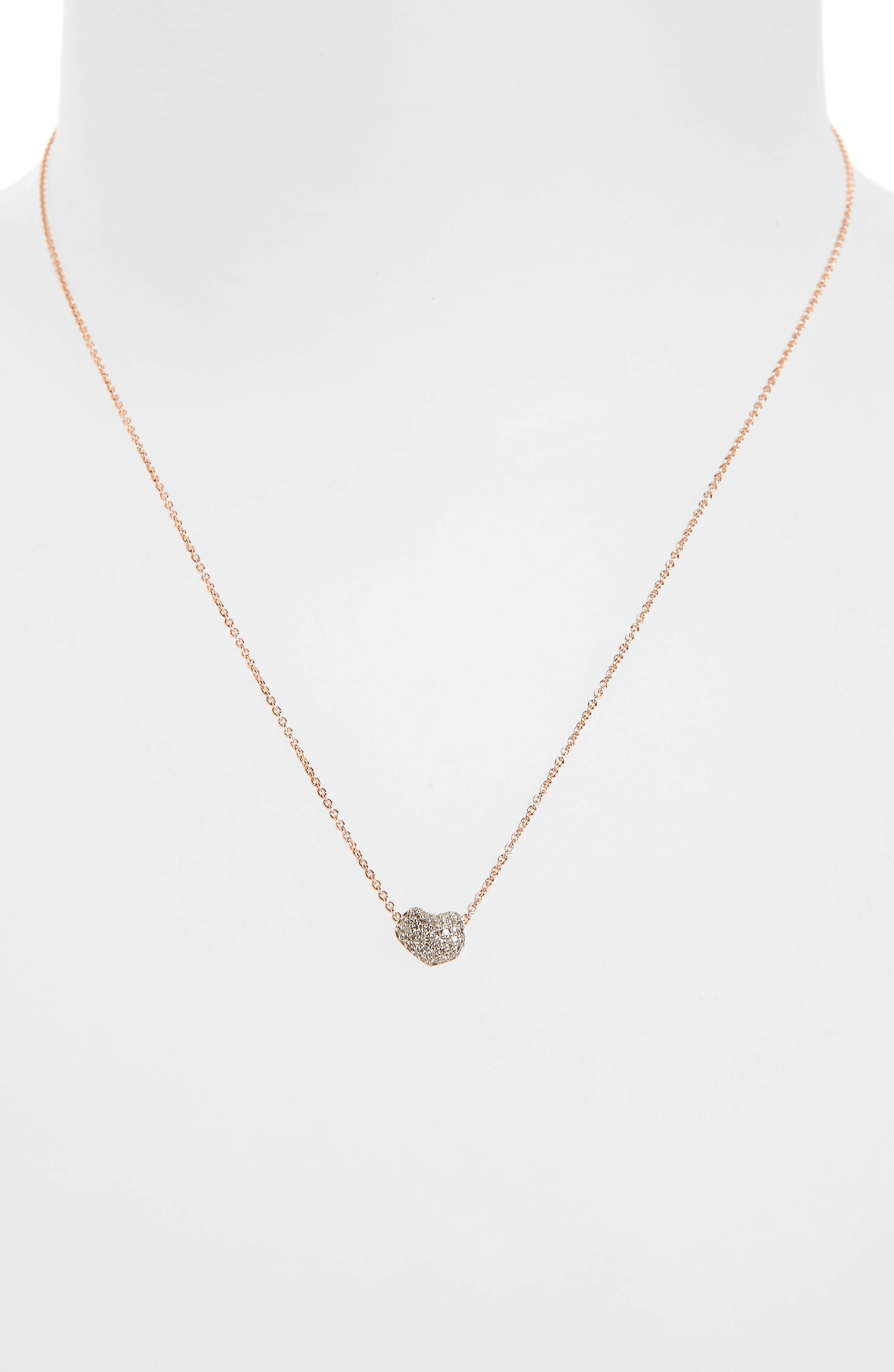 Pavé Diamond Pendant Necklace,                             Alternate thumbnail 2, color,                             ROSE GOLD/ DIAMOND