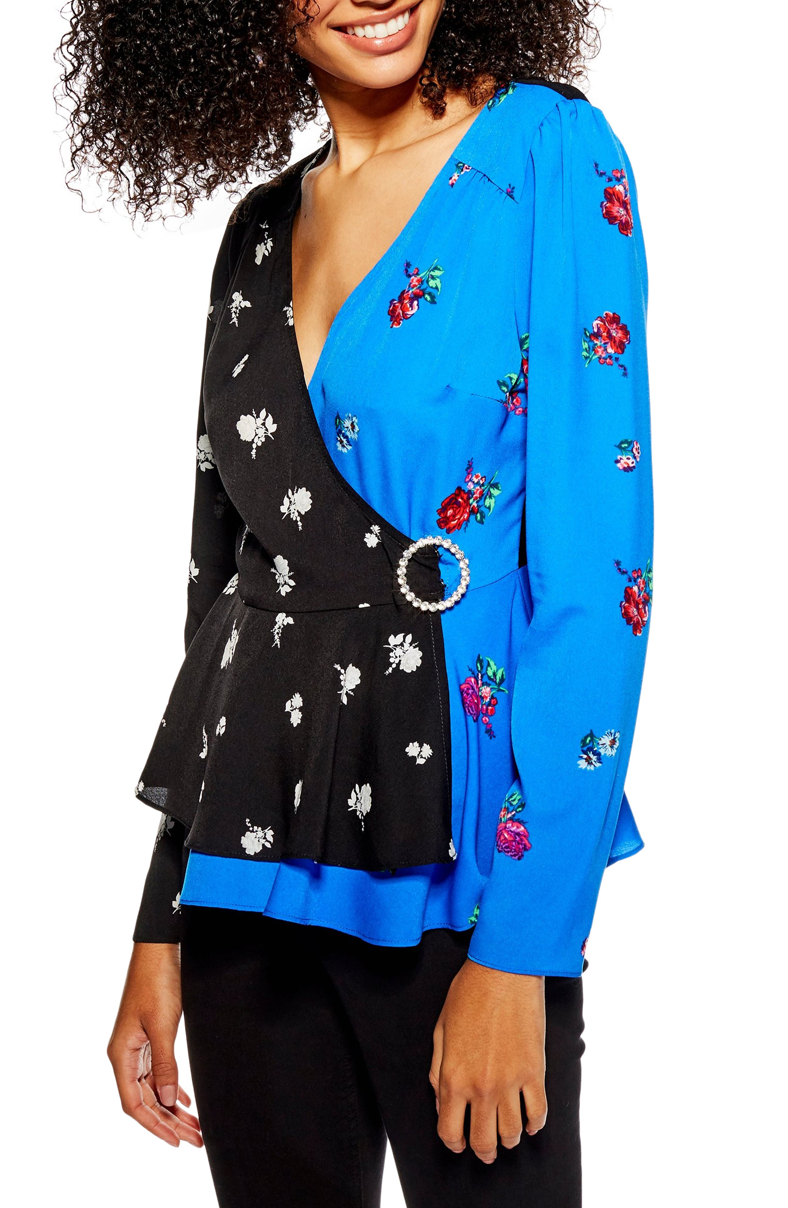 Mix Print Wrap Blouse by Topshop