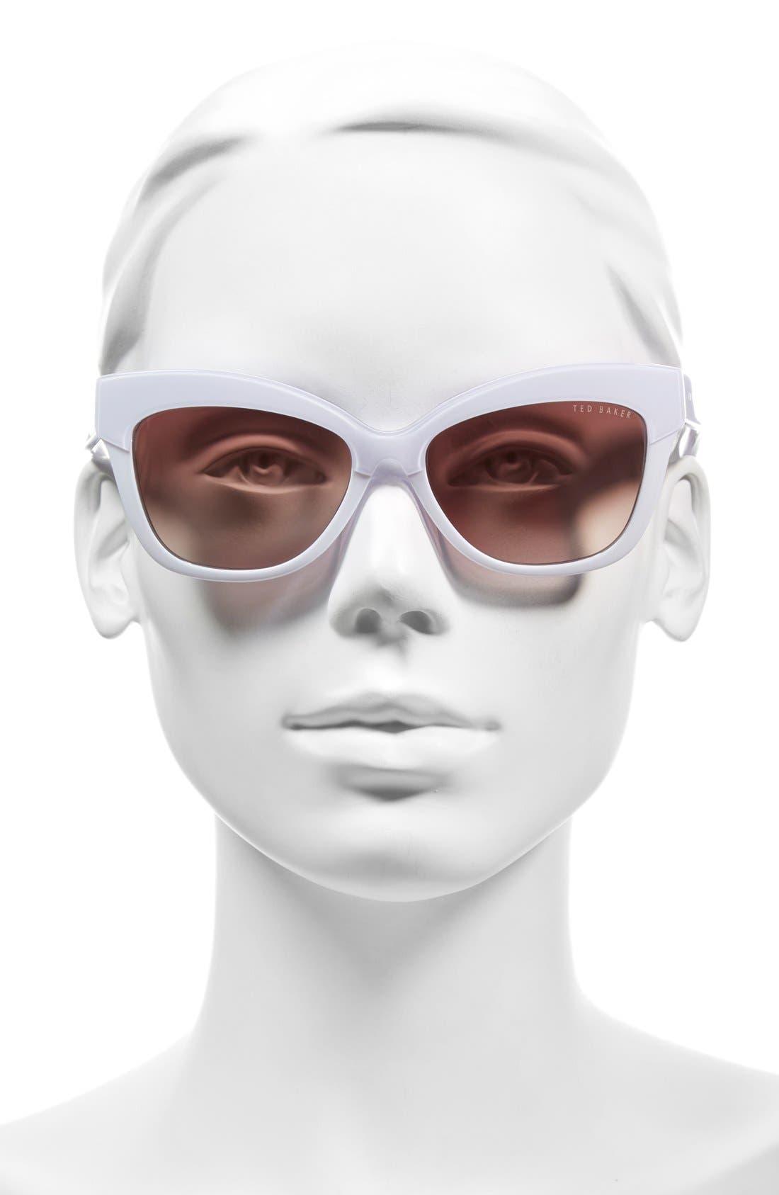 55mm Cat Eye Sunglasses,                             Alternate thumbnail 2, color,                             100