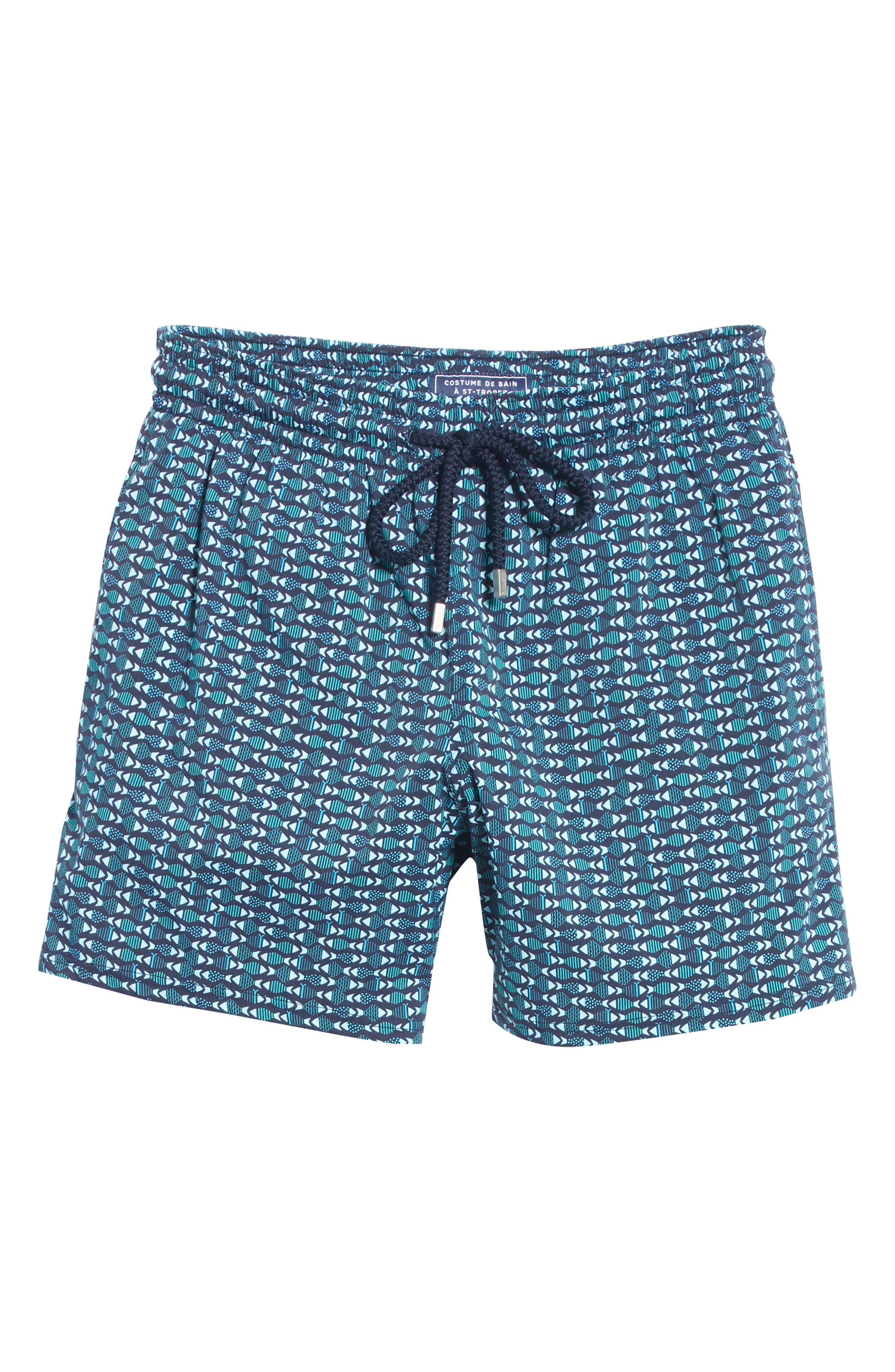 VILEBREQUIN,                             Modernist Fish Print Swim Trunks,                             Alternate thumbnail 6, color,                             NAVY