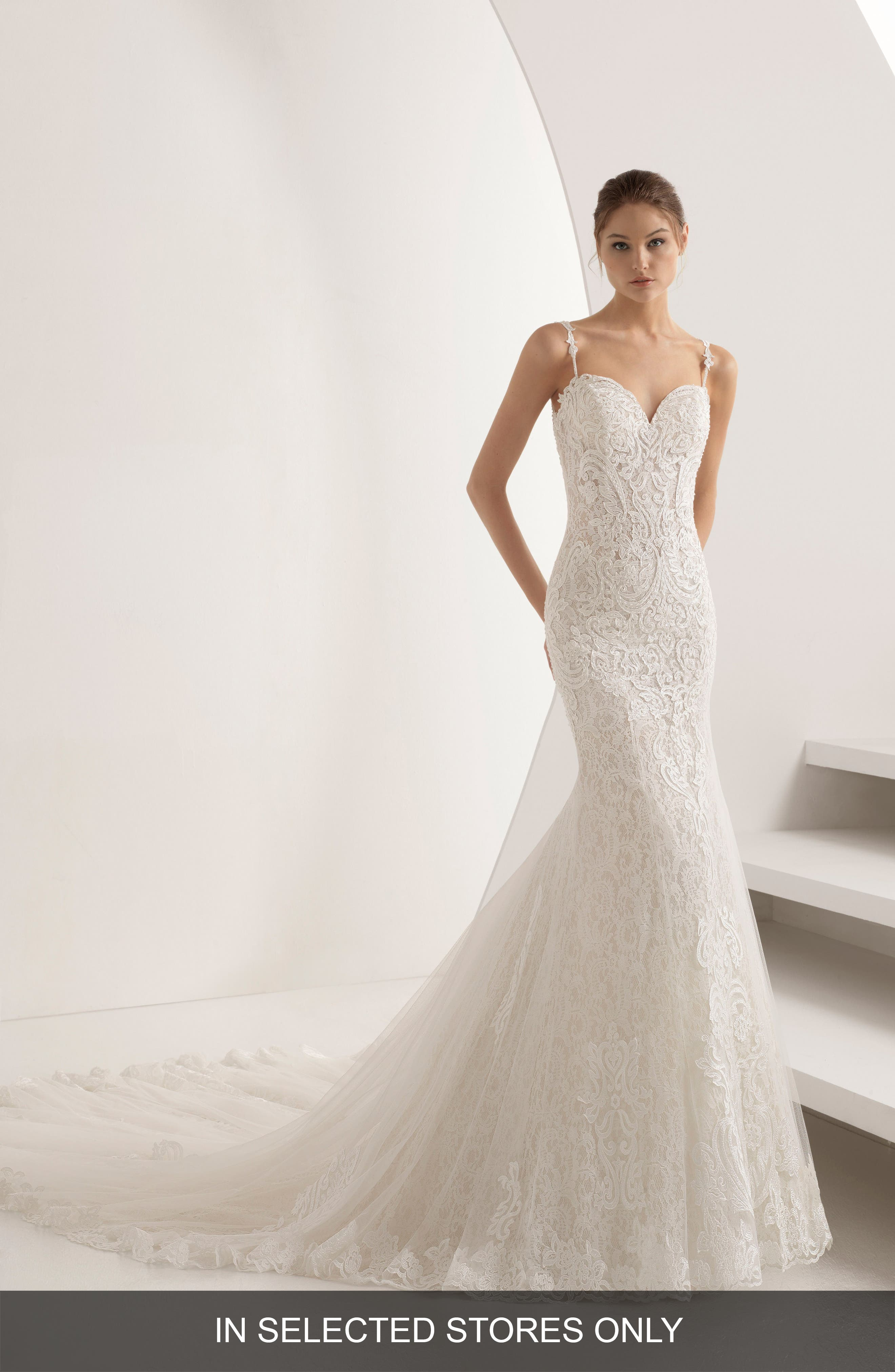 Rosa Clará Abac Sweetheart Illusion Back Mermaid Gown,                         Main,                         color, NATURAL/NUDE