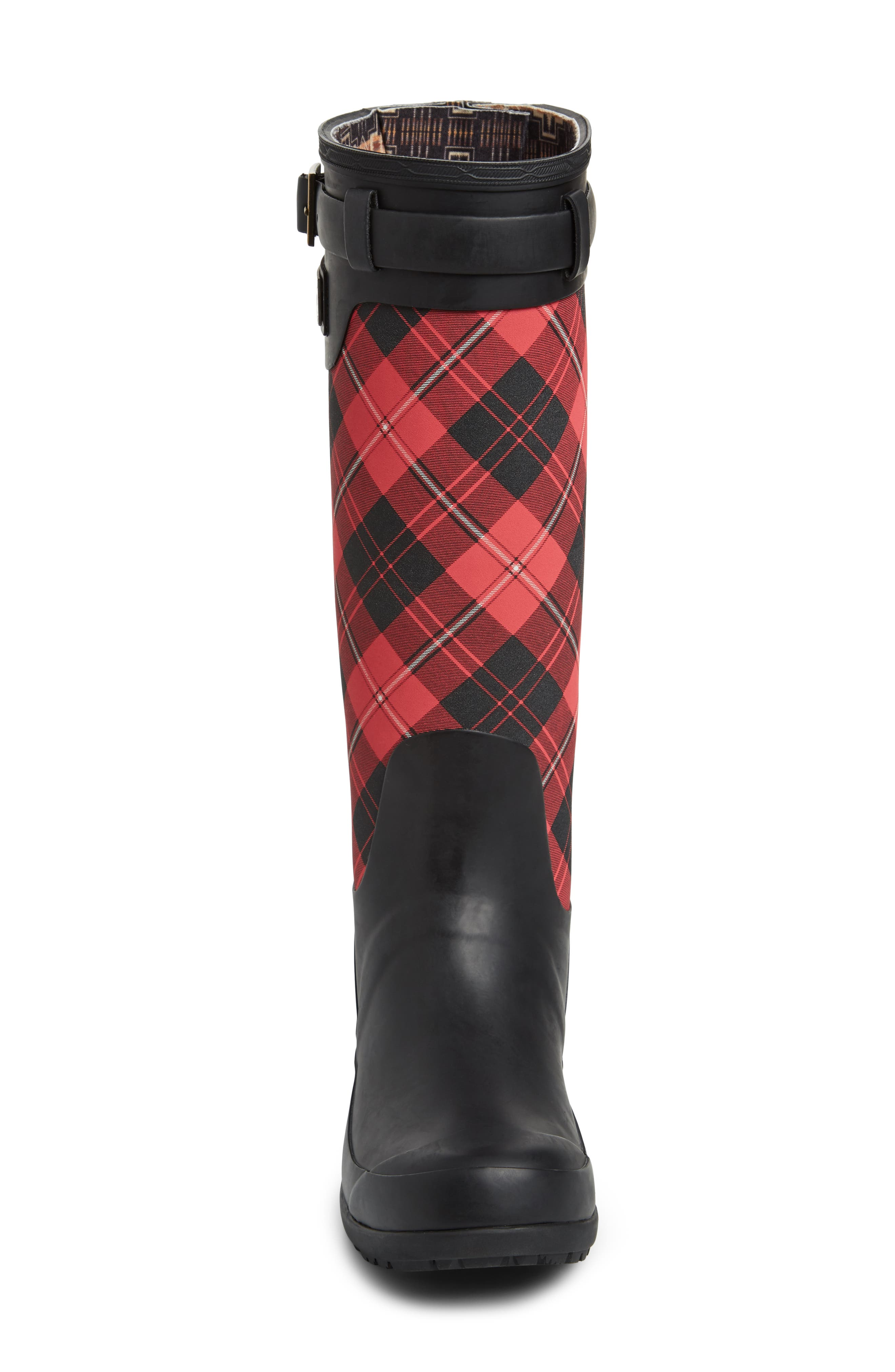 Heritage Cunningham Tartan Tall Boot,                             Alternate thumbnail 4, color,                             SCARLET