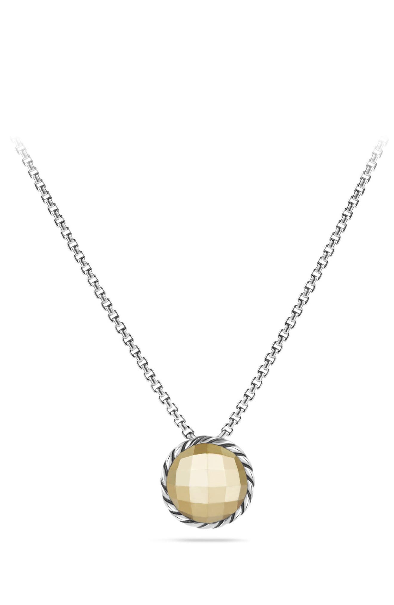 'Châtelaine' Necklace with Gold Dome and 18K Gold,                             Alternate thumbnail 4, color,