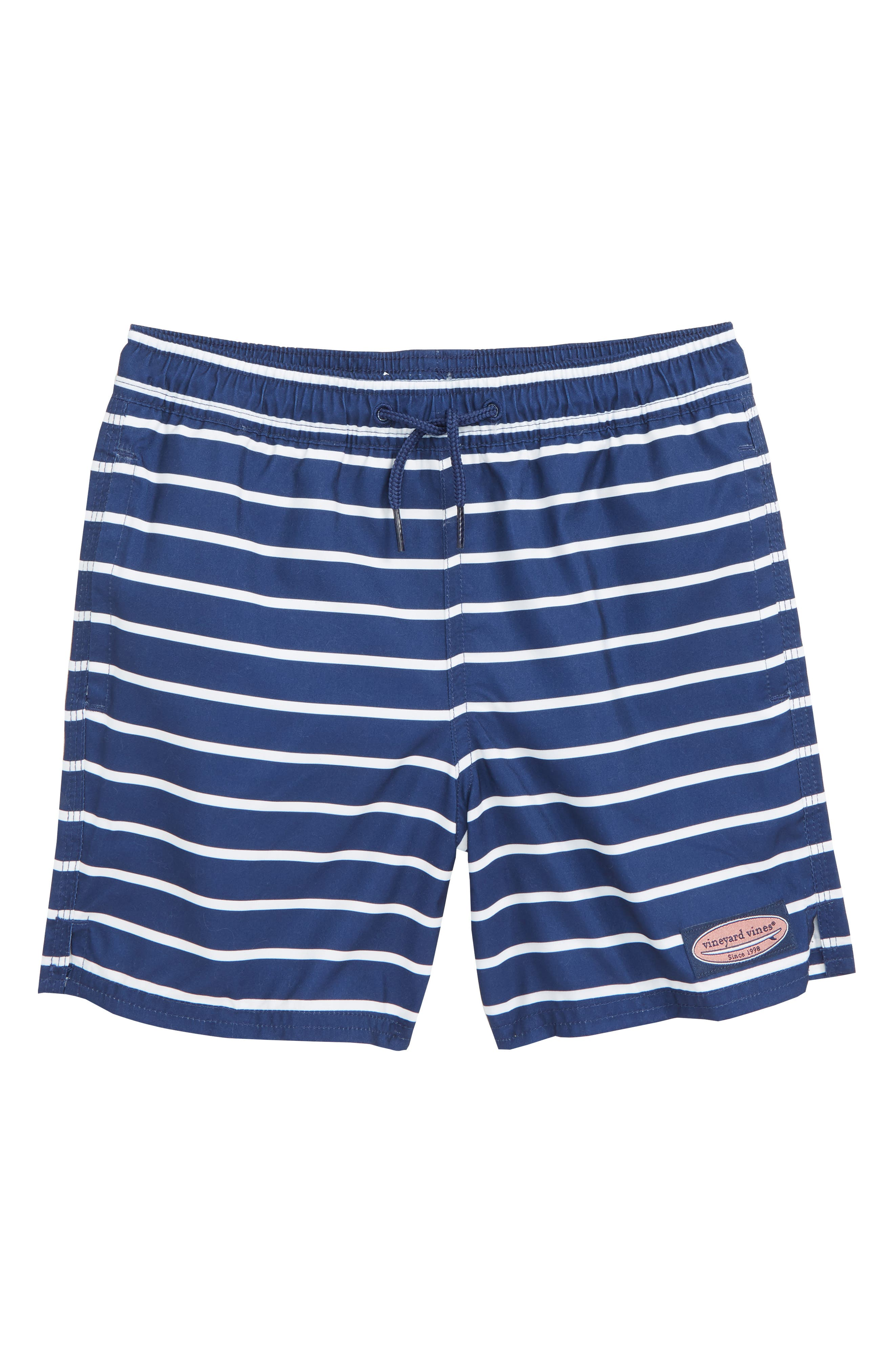 VINEYARD VINES,                             Break Stripe Chappy Swim Trunks,                             Main thumbnail 1, color,                             DEEP BAY