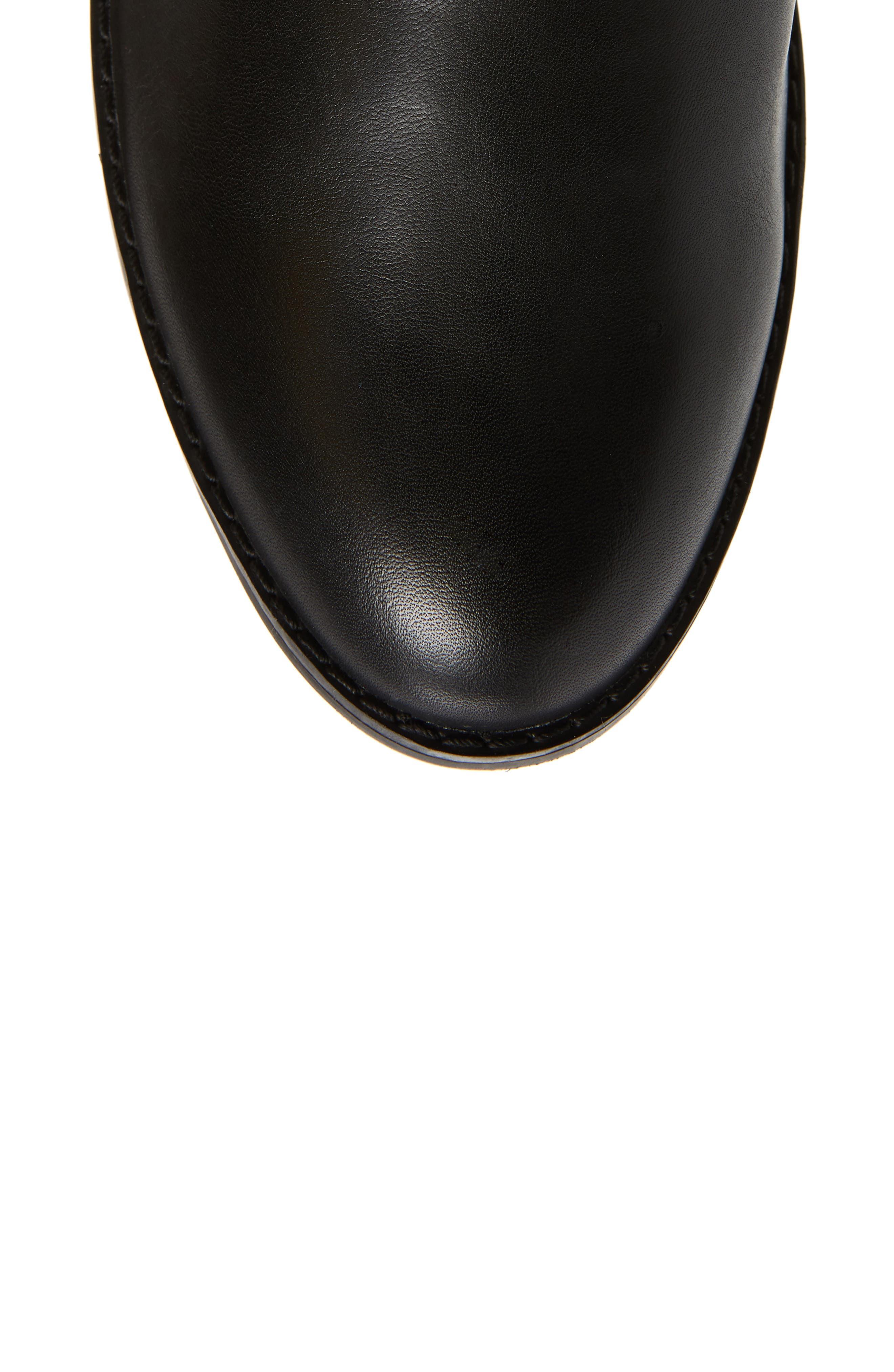 Belle Sock Knit Shaft Boot,                             Alternate thumbnail 5, color,                             BLACK LEATHER