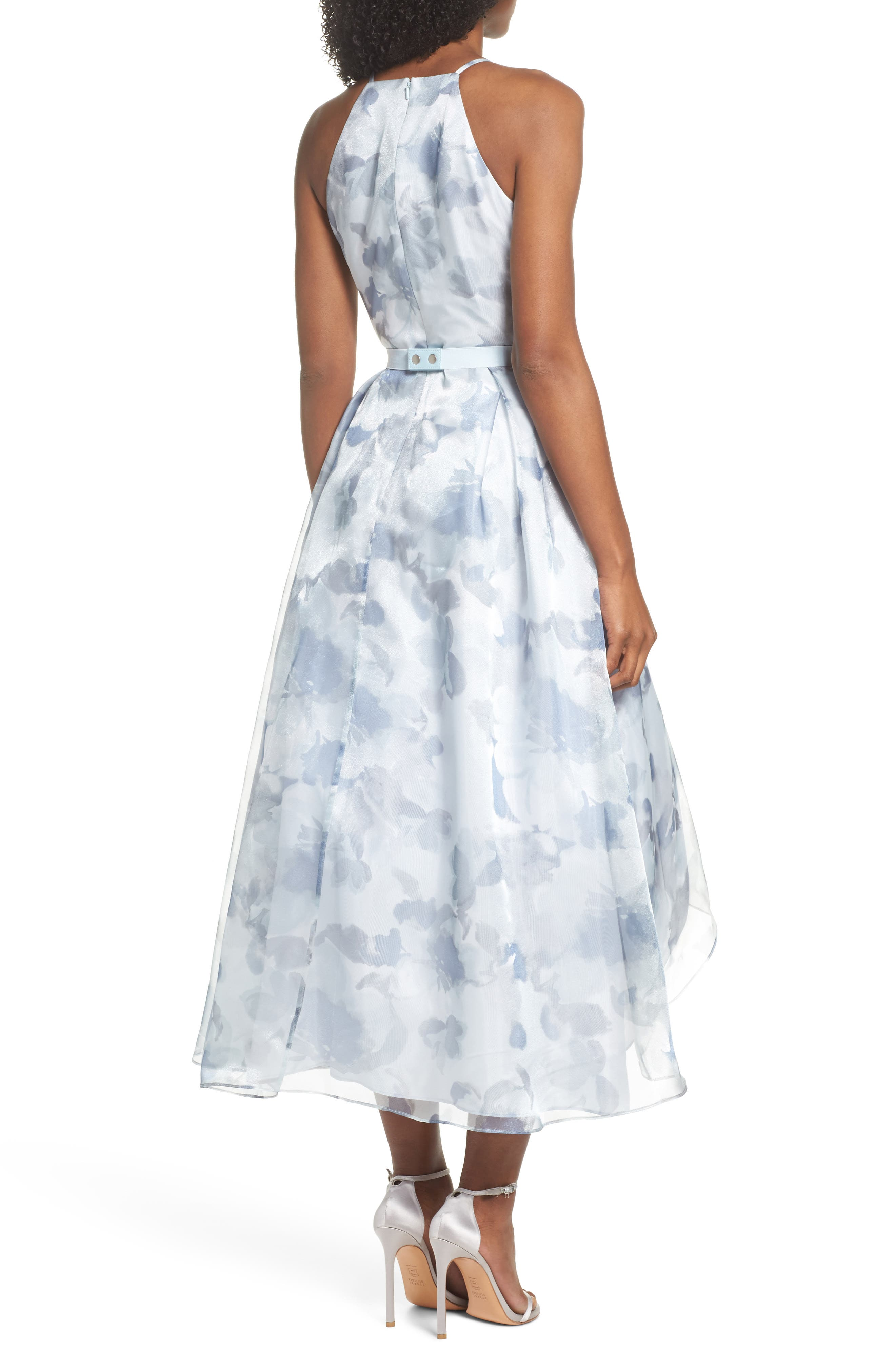 Belted Halter High/Low Dress,                             Alternate thumbnail 2, color,                             400