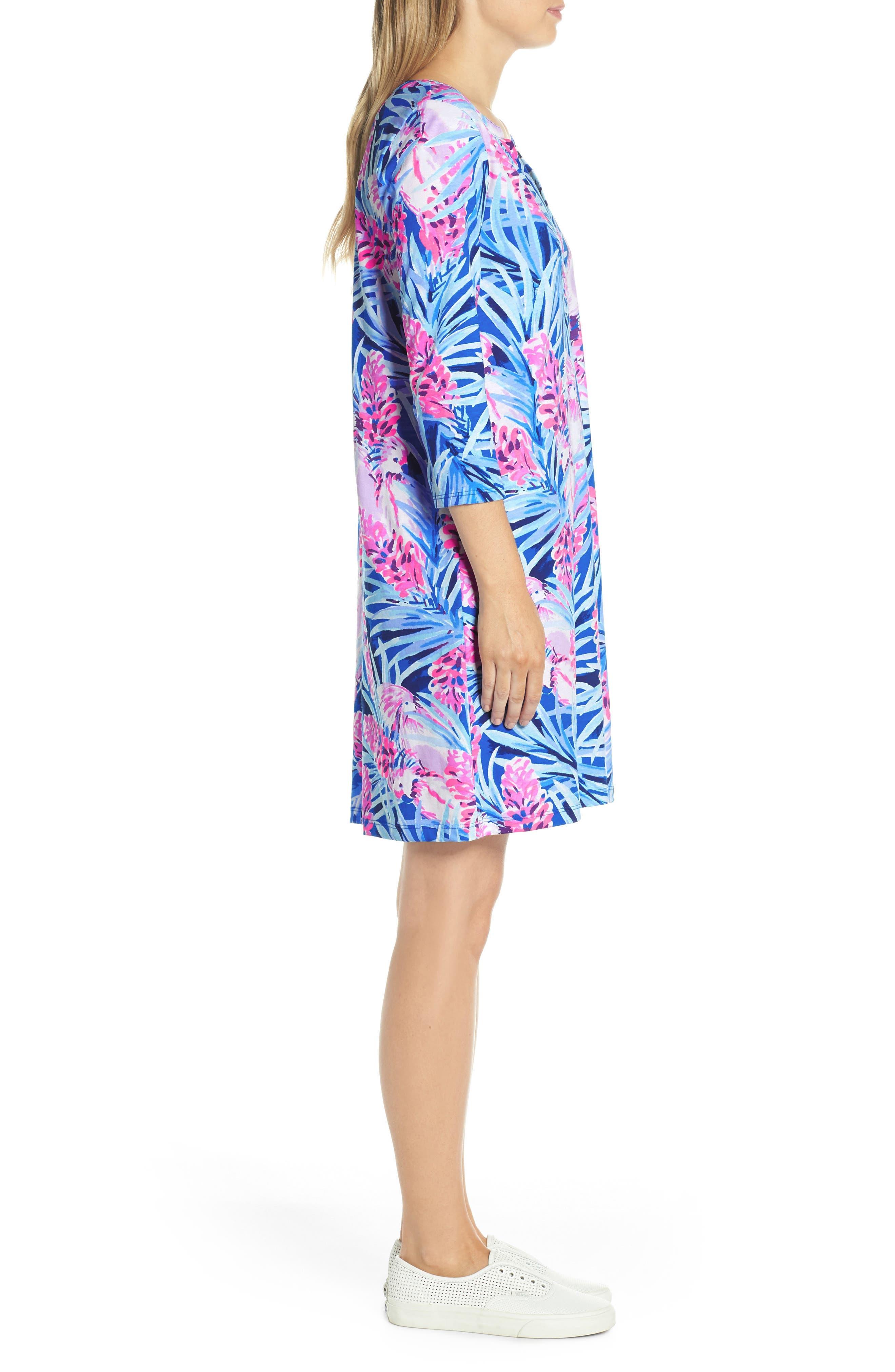 Daphne Shift Dress,                             Alternate thumbnail 3, color,                             MR PEACOCK BLUE TWEETHEARTS