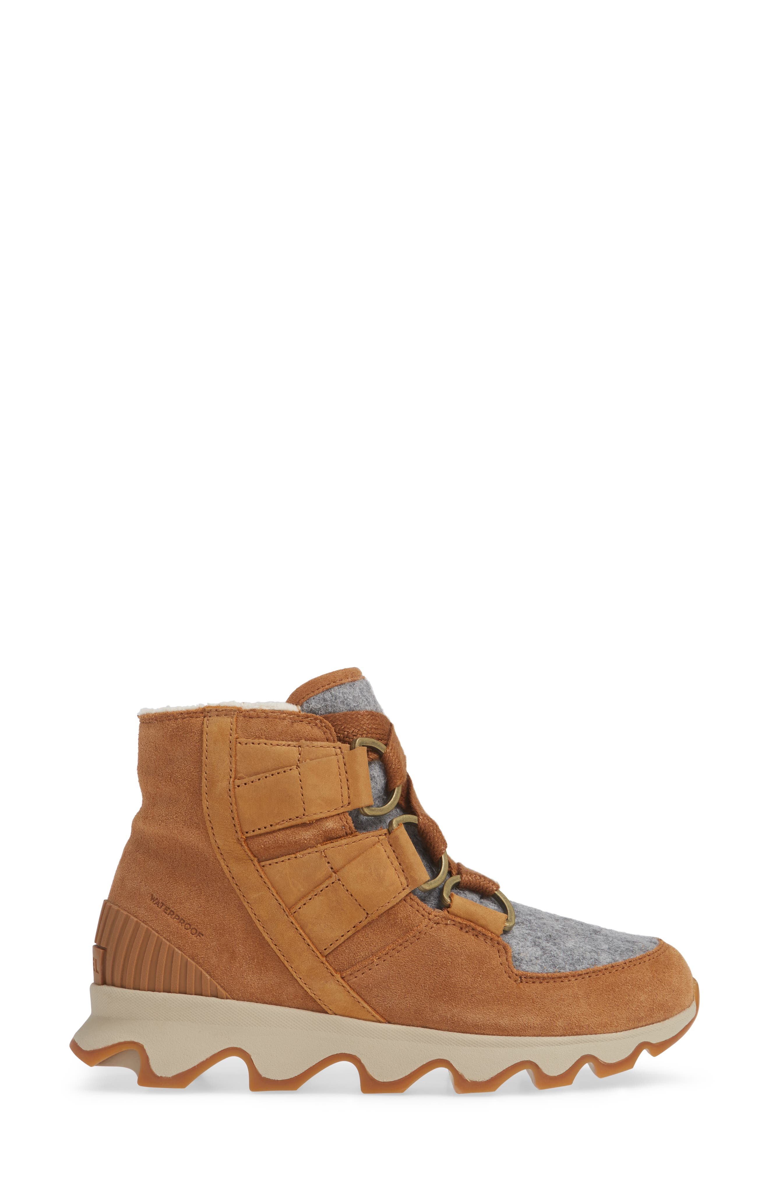 Kinetic Waterproof Short Lace-Up Boot,                             Alternate thumbnail 3, color,                             CAMEL BROWN