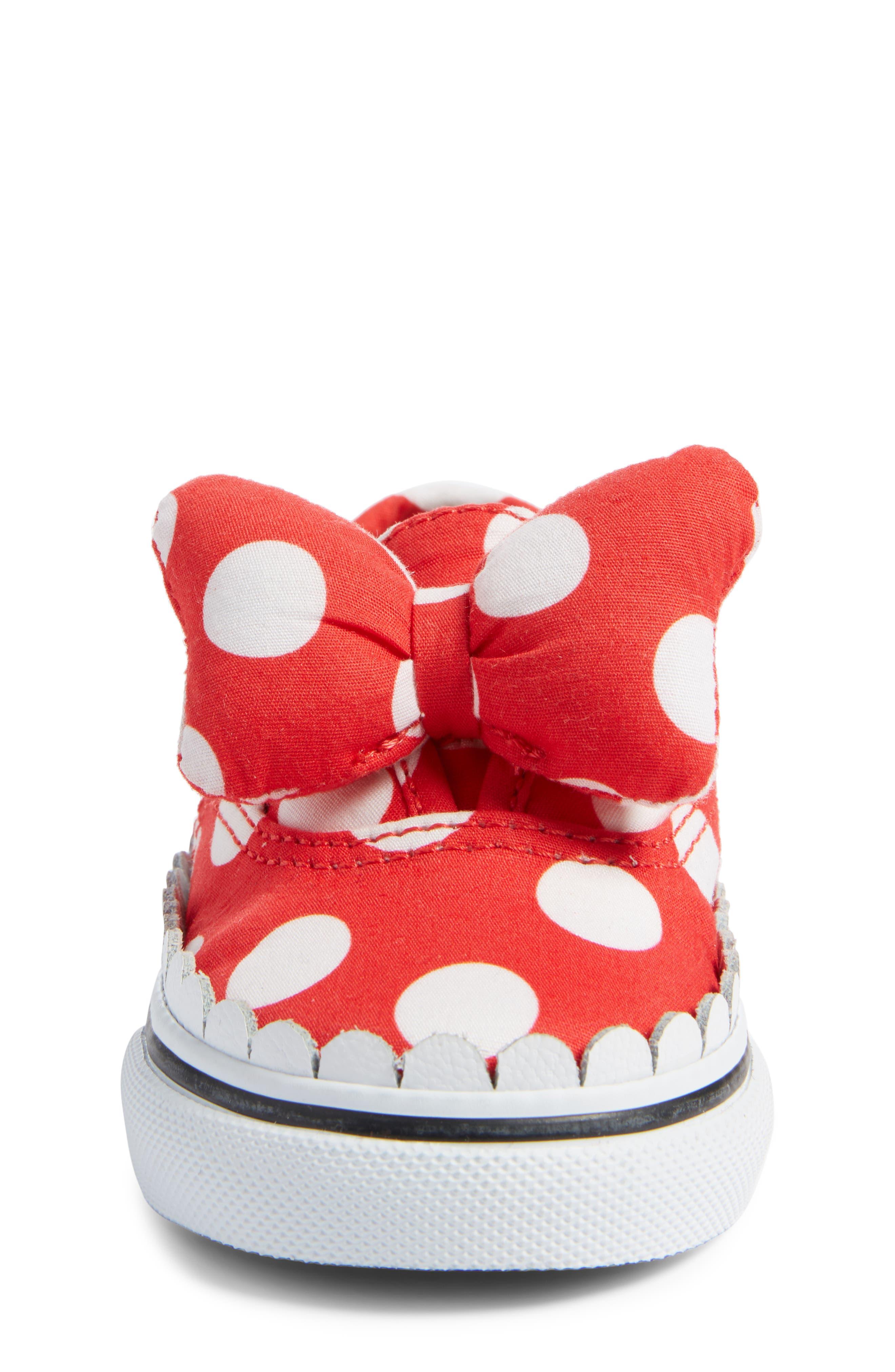 x Disney Authentic Gore Minnie Mouse Bow Slip-On Sneaker,                             Alternate thumbnail 4, color,                             DISNEY MINNIE BOW TRUE WHITE