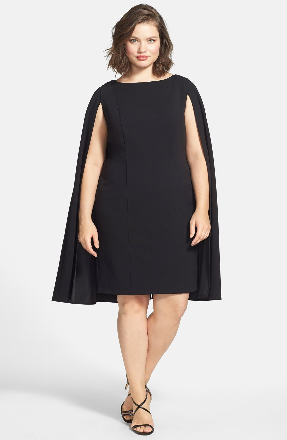 Cape Sheath Dress,                             Alternate thumbnail 11, color,                             001