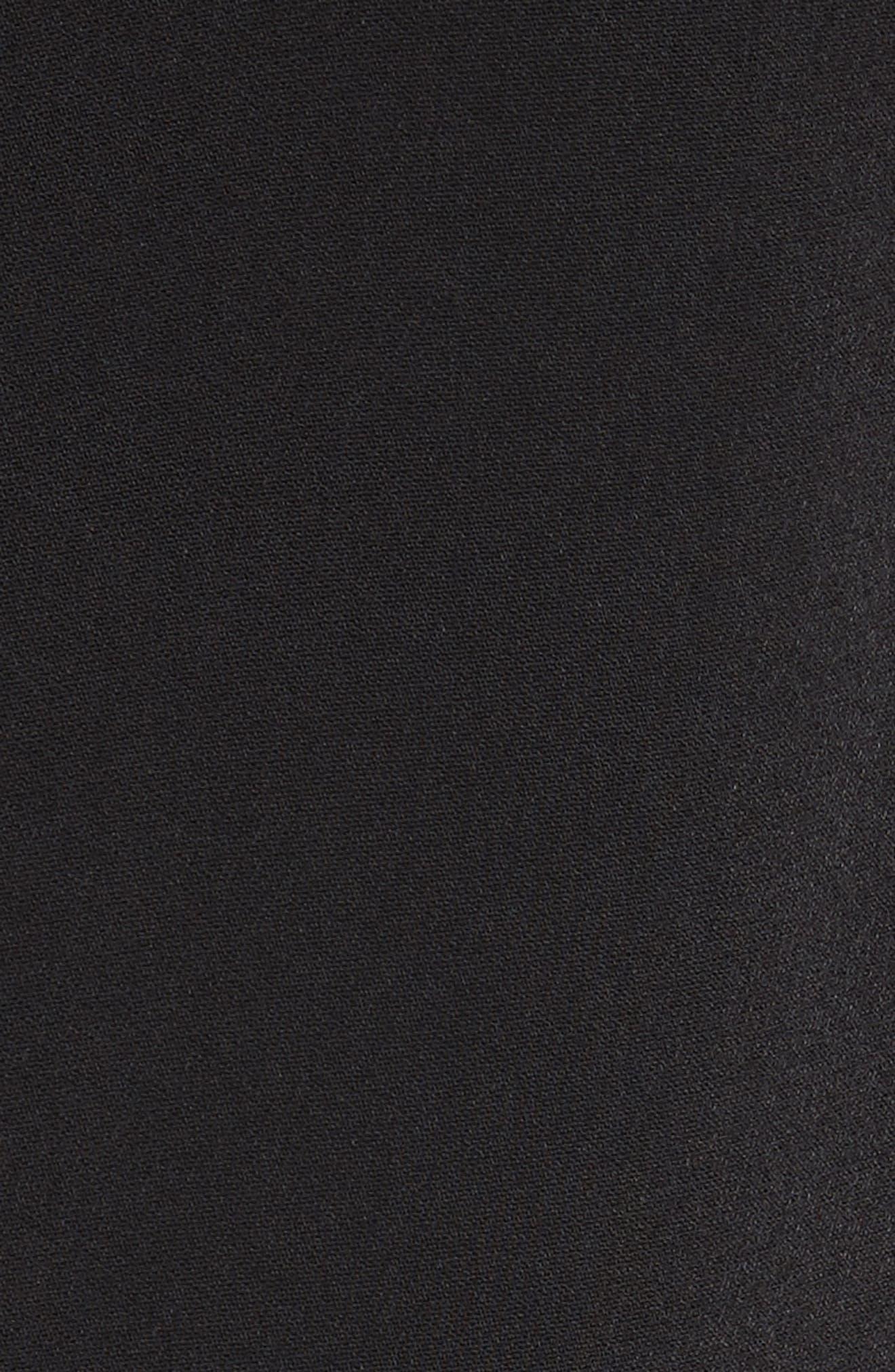 Siiara Frill Cold Shoulder Shift Dress,                             Alternate thumbnail 5, color,                             001