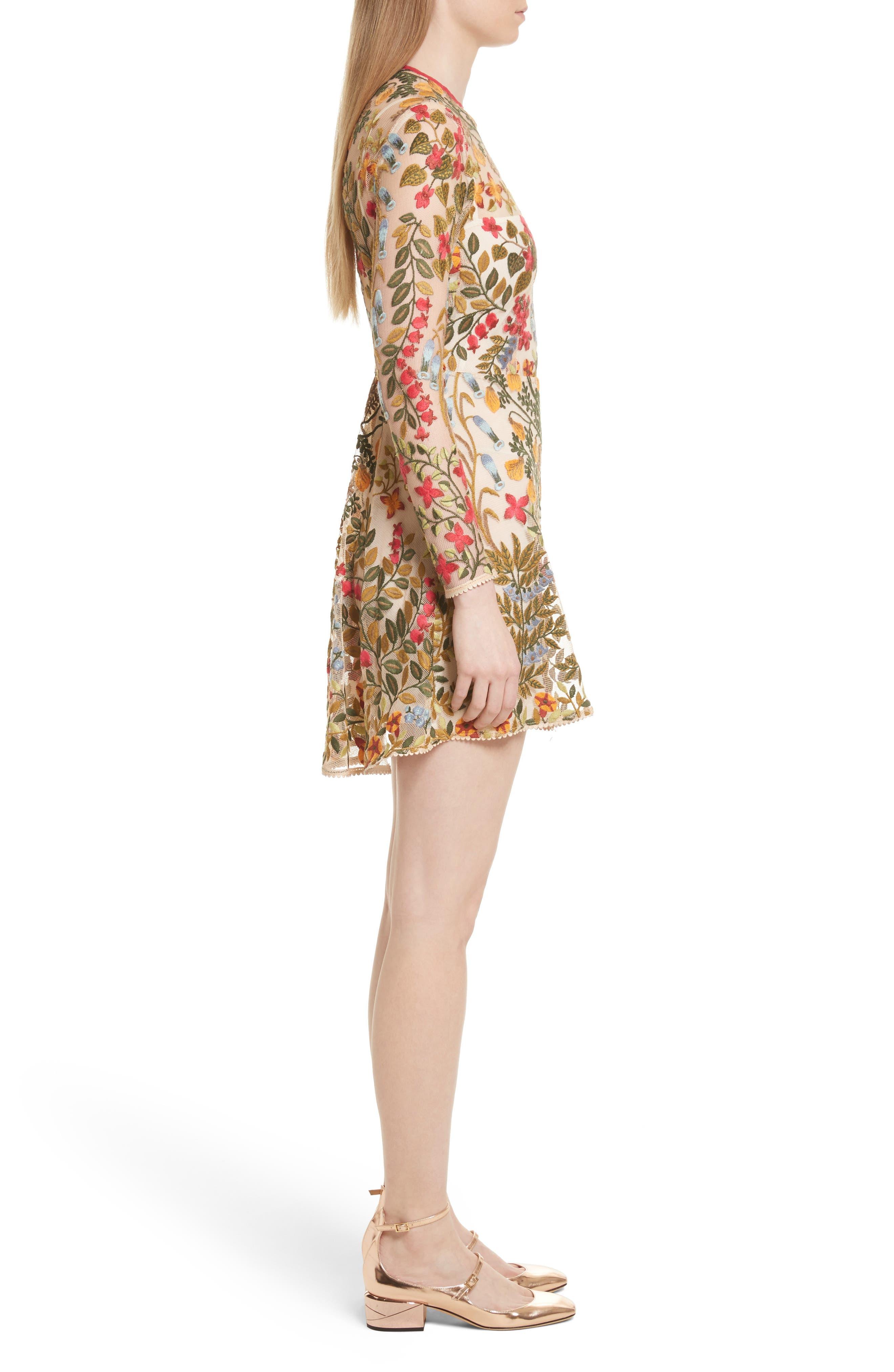 Floral Vine Embroidered Tulle Dress,                             Alternate thumbnail 3, color,