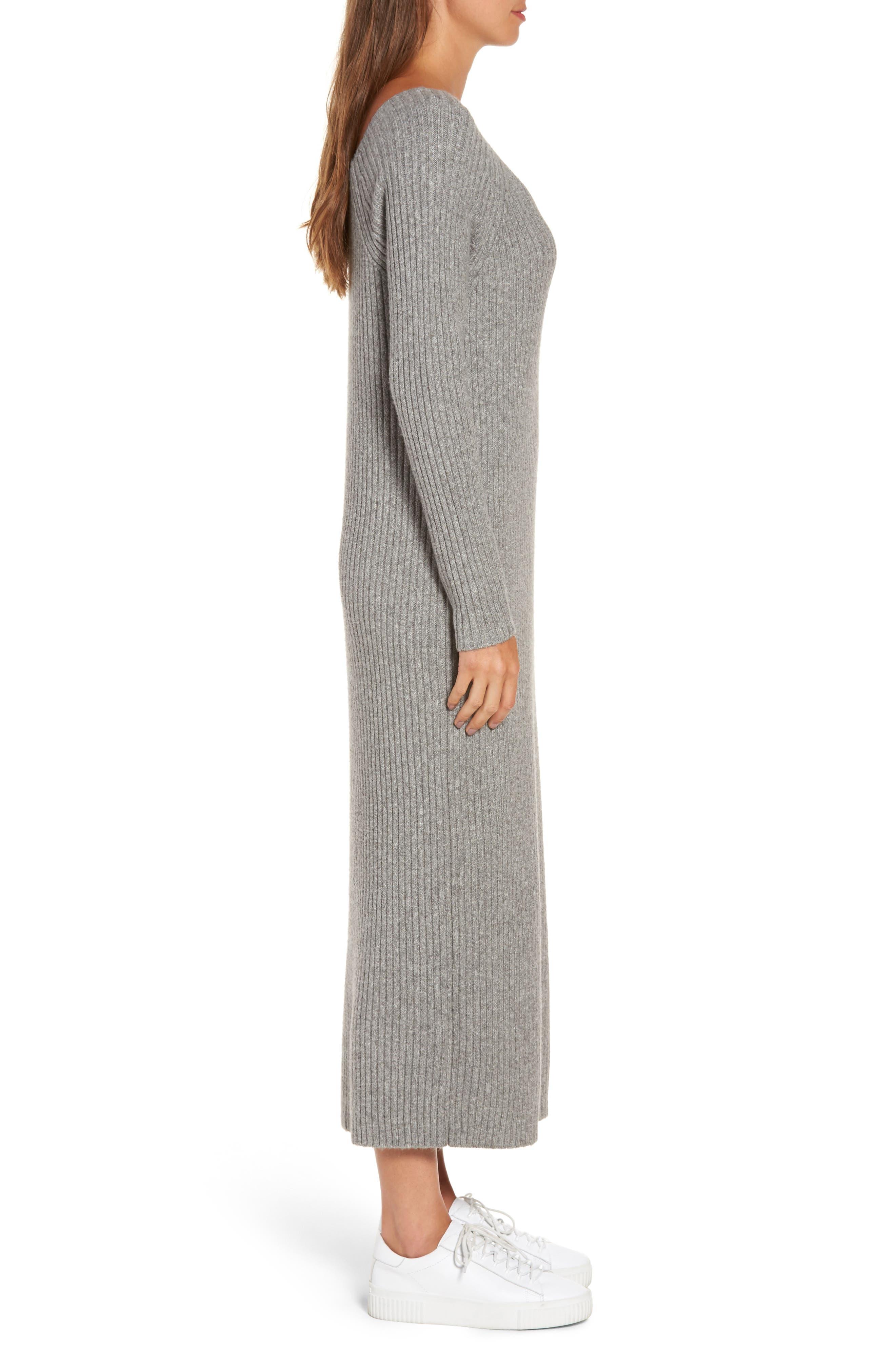 Ribbed Maxi Sweater Dress,                             Alternate thumbnail 3, color,