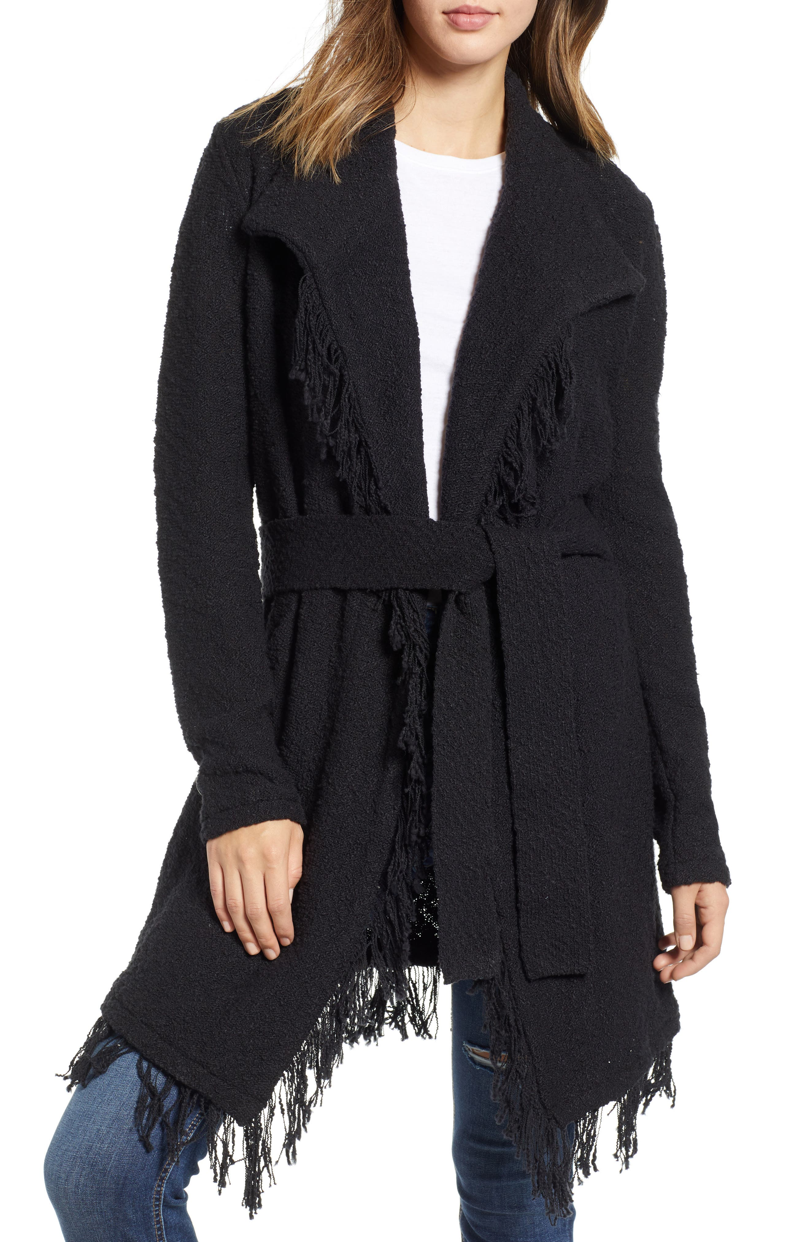 SHOW ME YOUR MUMU Suzanne Fringe Detail Belted Cardigan in Ebony Knit