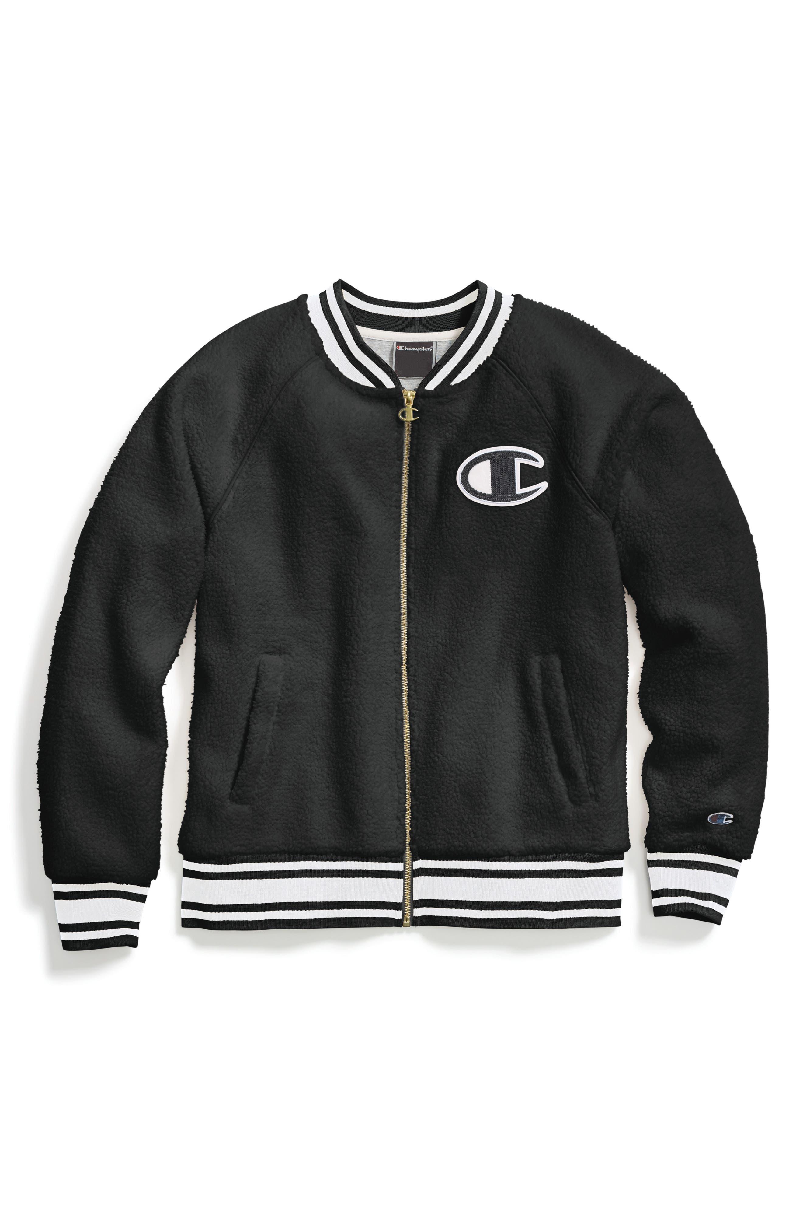 Fleece Bomber Jacket,                         Main,                         color, BLACK/ BLACK DIAGONAL SCRIPT