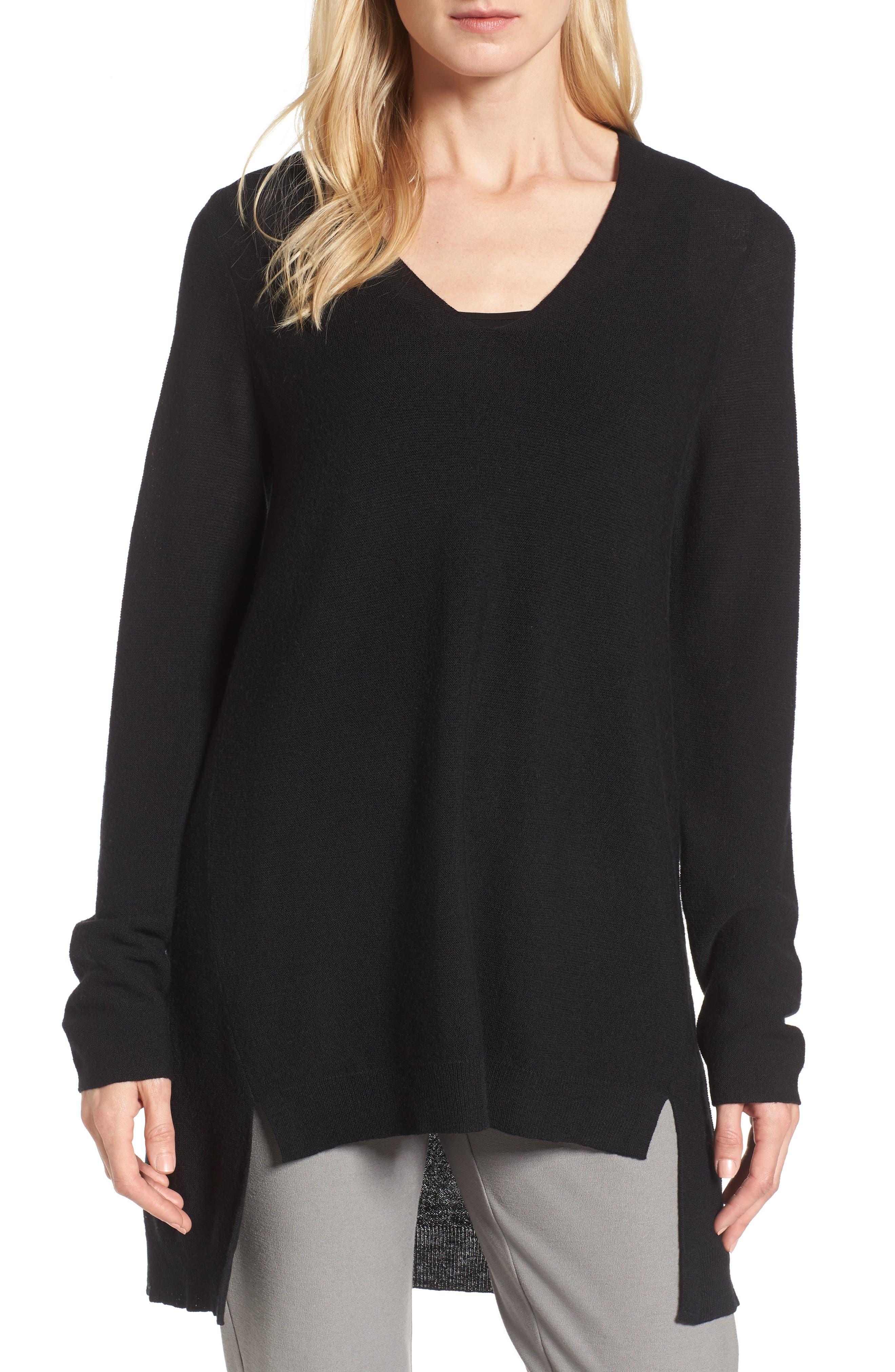High/Low Merino Wool Sweater,                         Main,                         color, 001