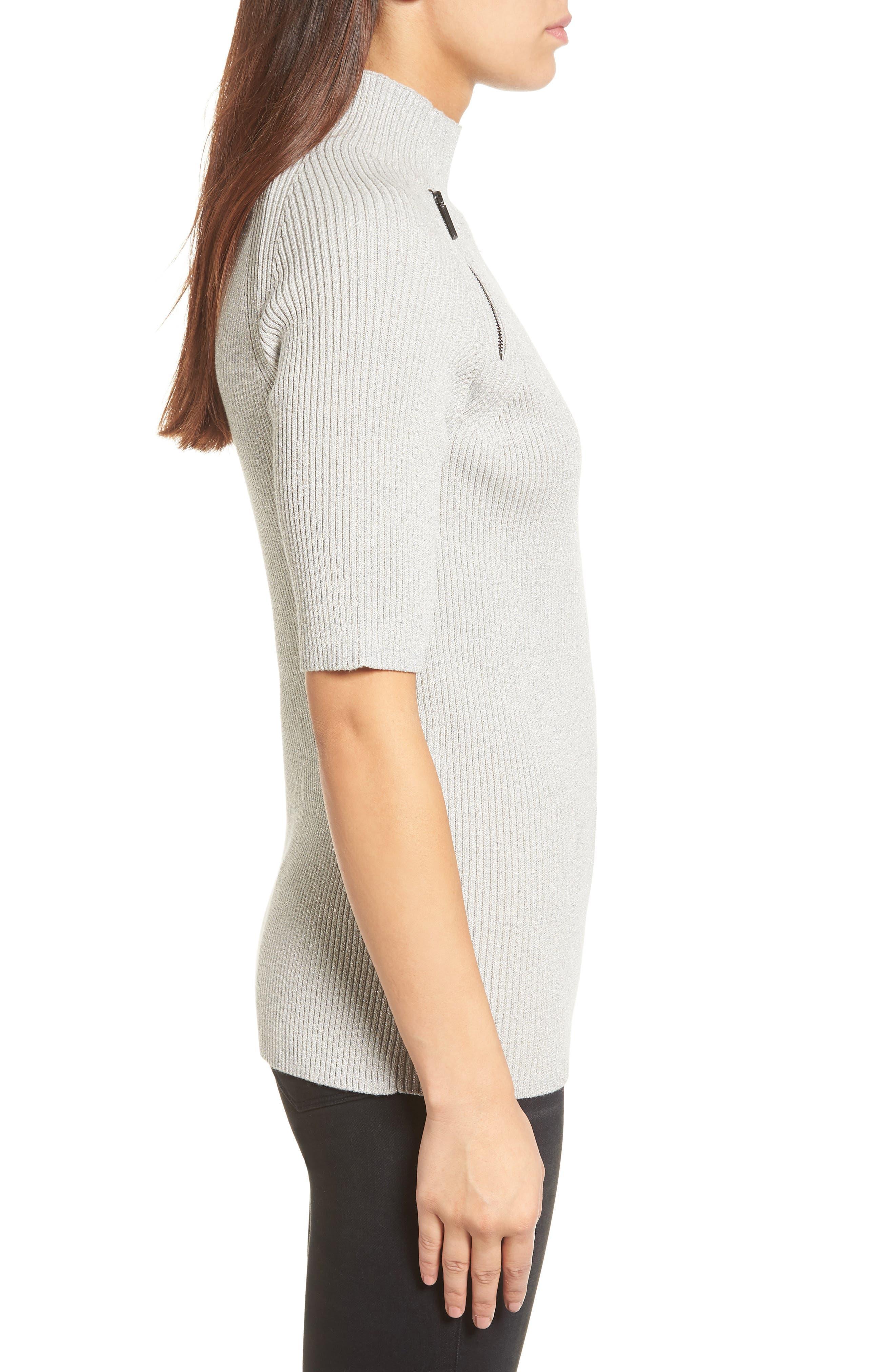 Elbow Sleeve Mock Neck Sweater,                             Alternate thumbnail 3, color,                             LIGHT GRAY