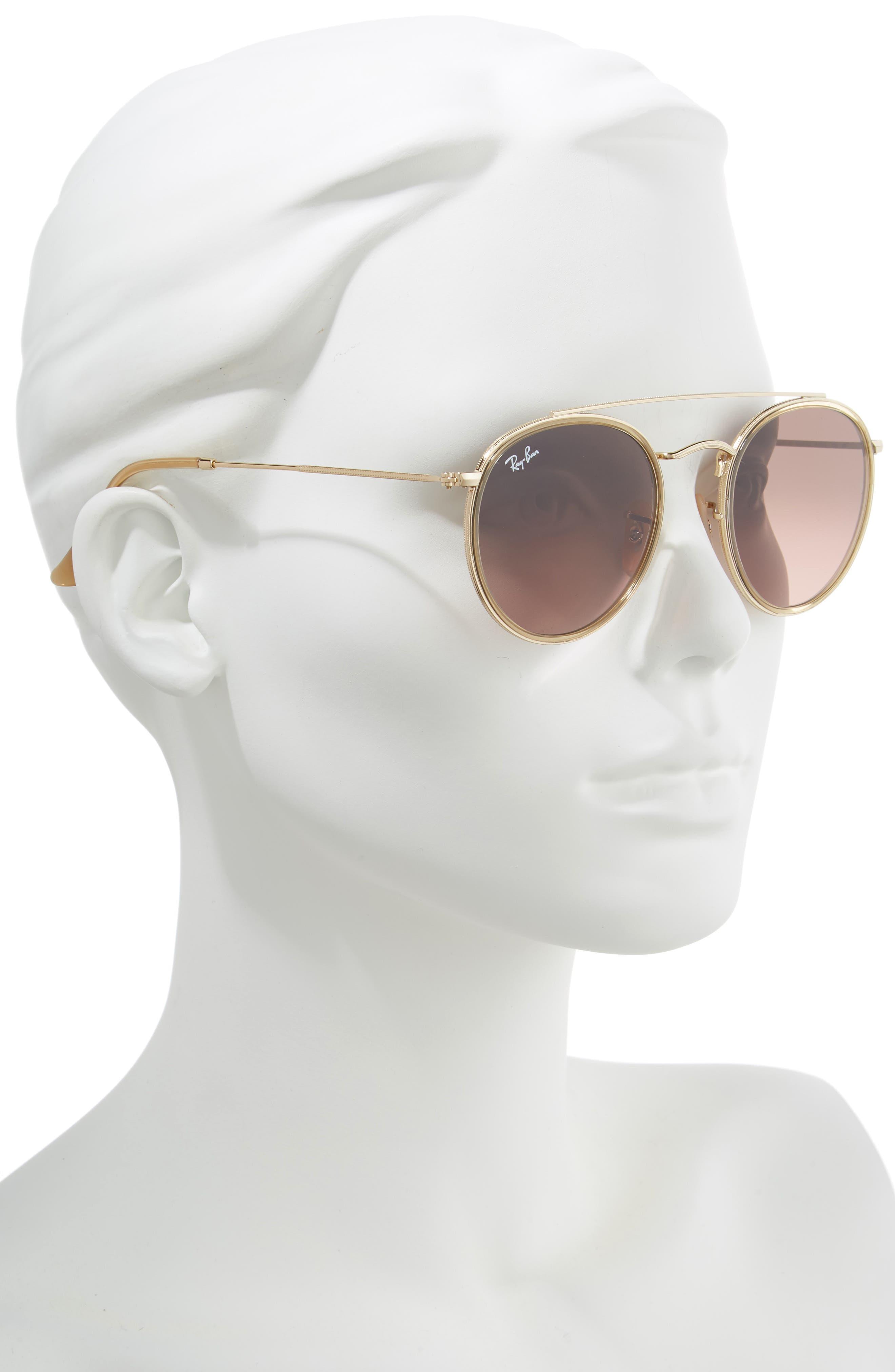 51mm Aviator Gradient Lens Sunglasses,                             Alternate thumbnail 2, color,                             GOLD/ BROWN GRADIENT