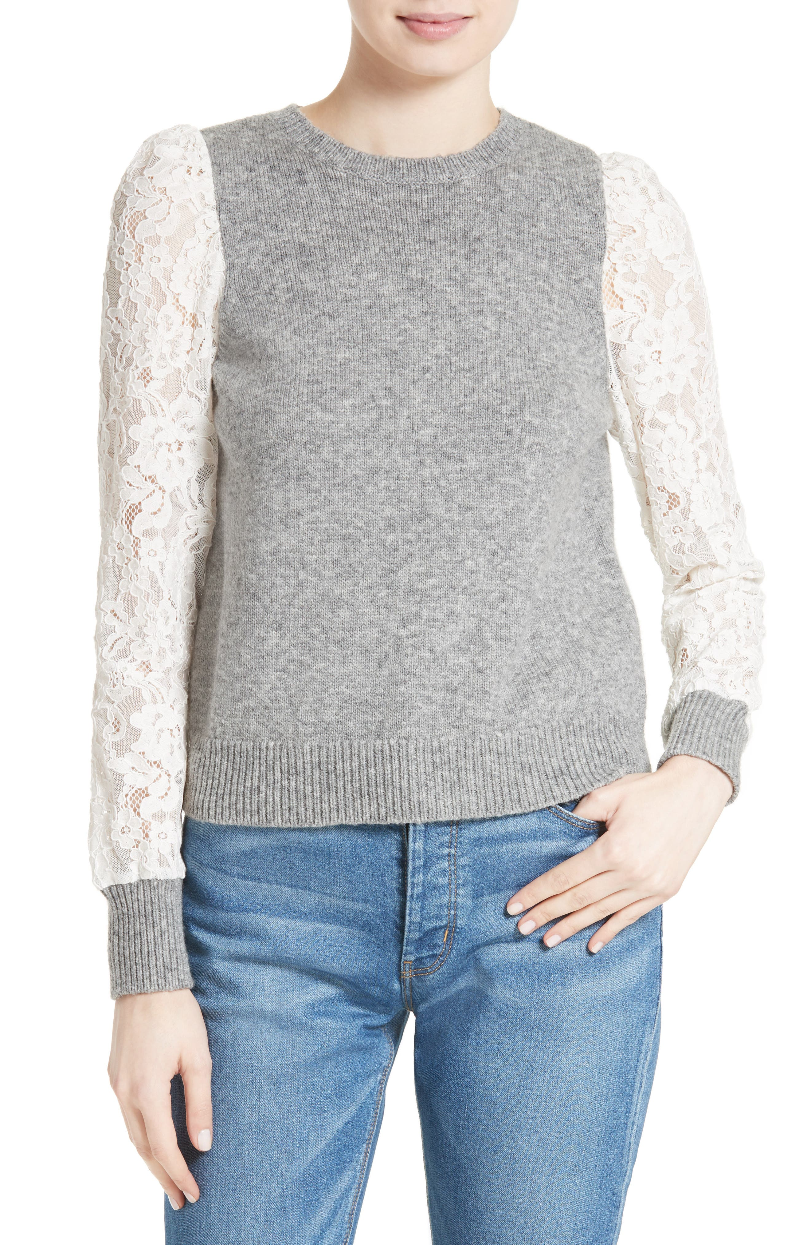 REBECCA TAYLOR,                             Lace Sleeve Sweater,                             Main thumbnail 1, color,                             063