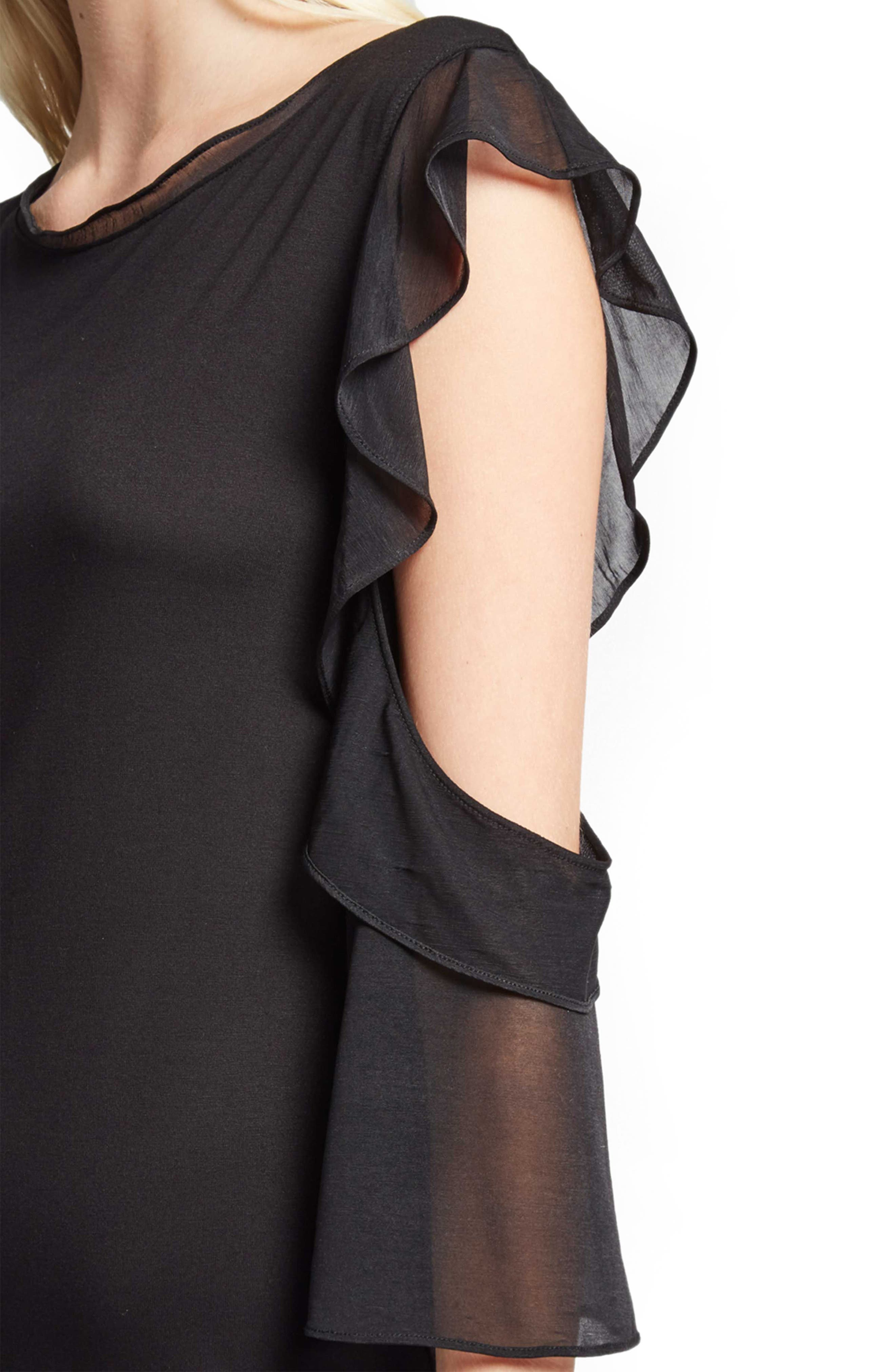 Ruffle Mix Jersey Dress,                             Alternate thumbnail 3, color,                             001