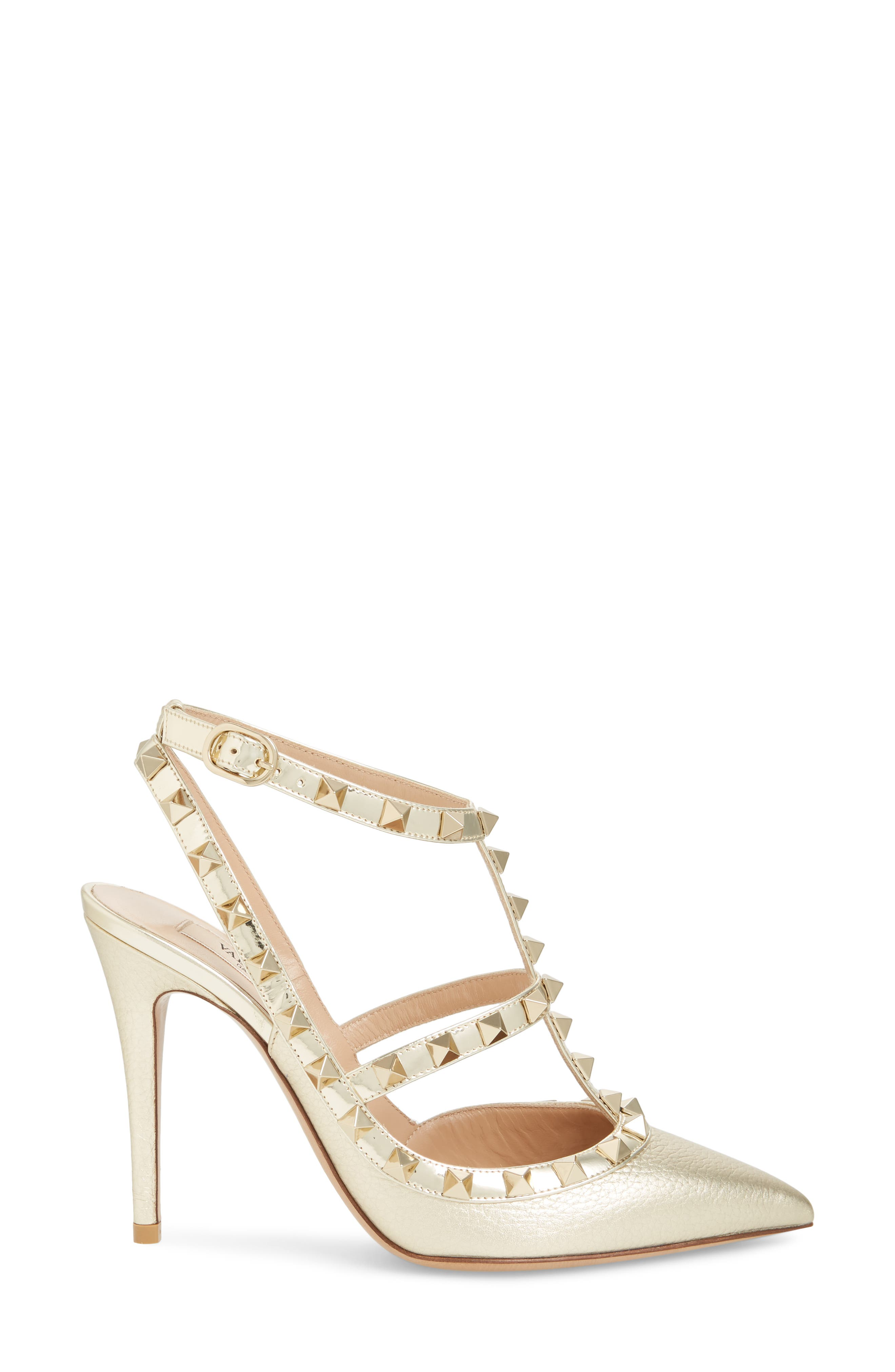 Rockstud T-Strap Pump,                             Alternate thumbnail 3, color,                             PLATINO
