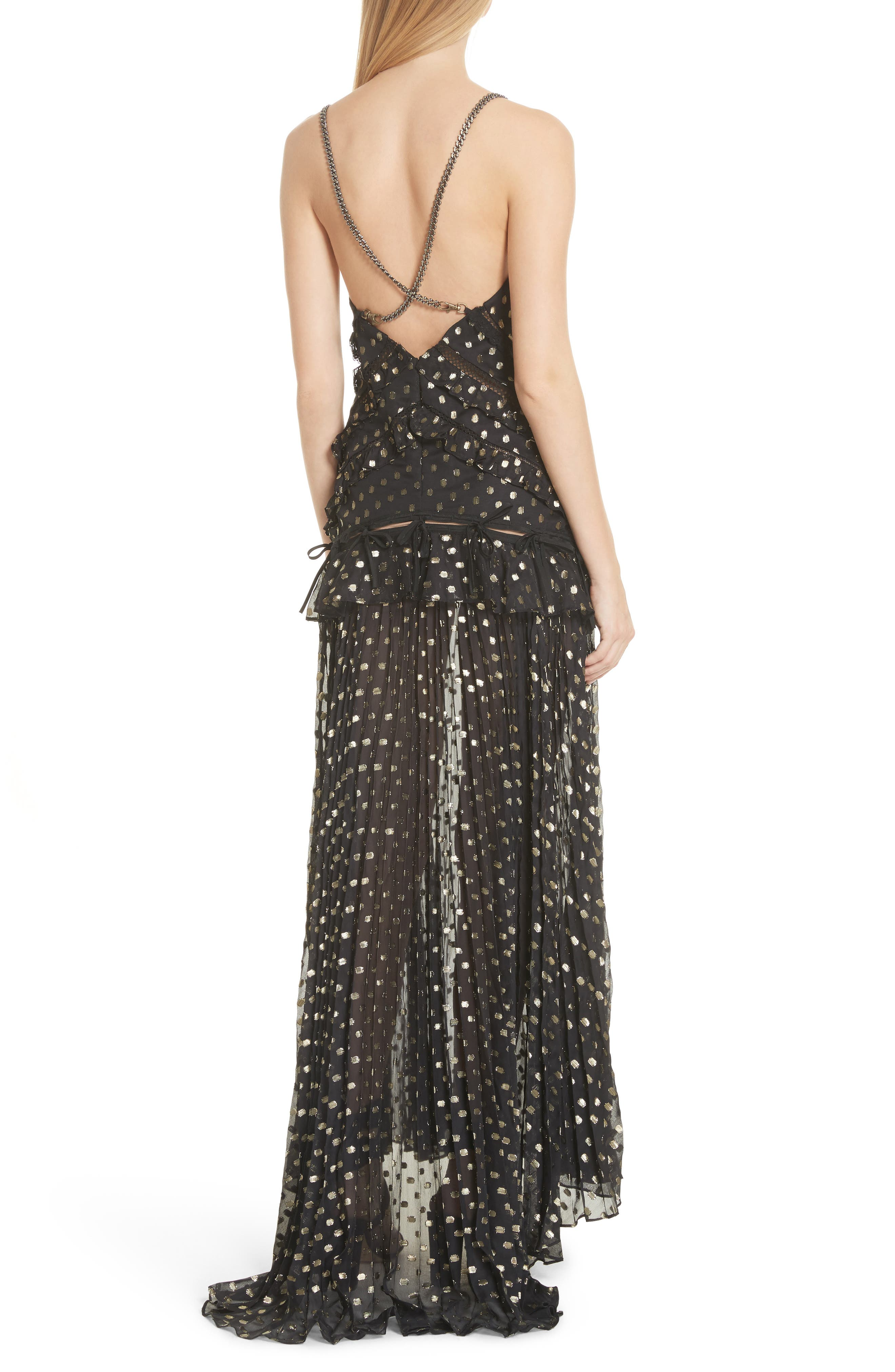 Metallic Polka Dot Chain Strap Dress,                             Alternate thumbnail 2, color,                             004