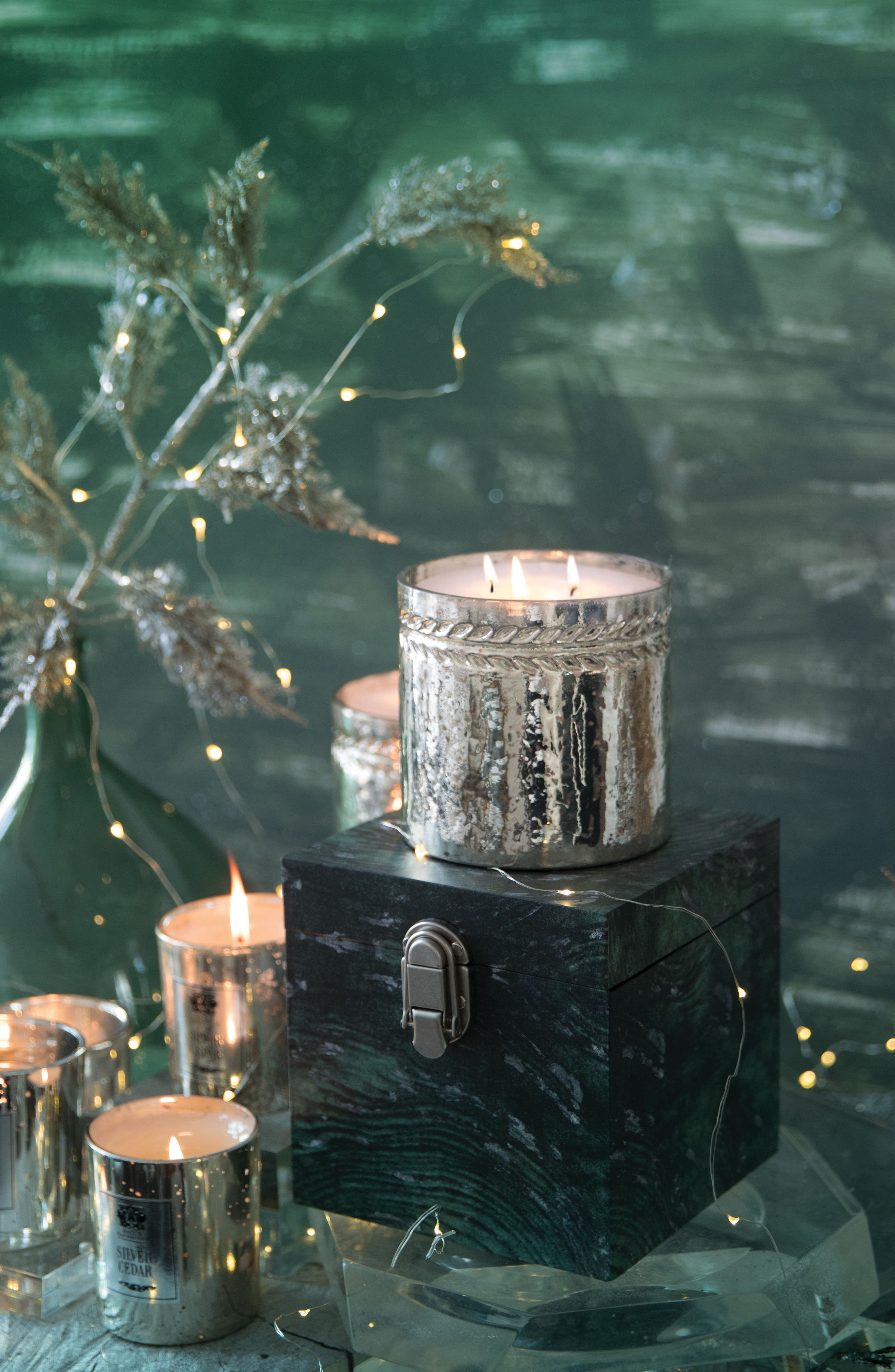 Silver Cedar Three-Wick Candle,                             Alternate thumbnail 4, color,                             000