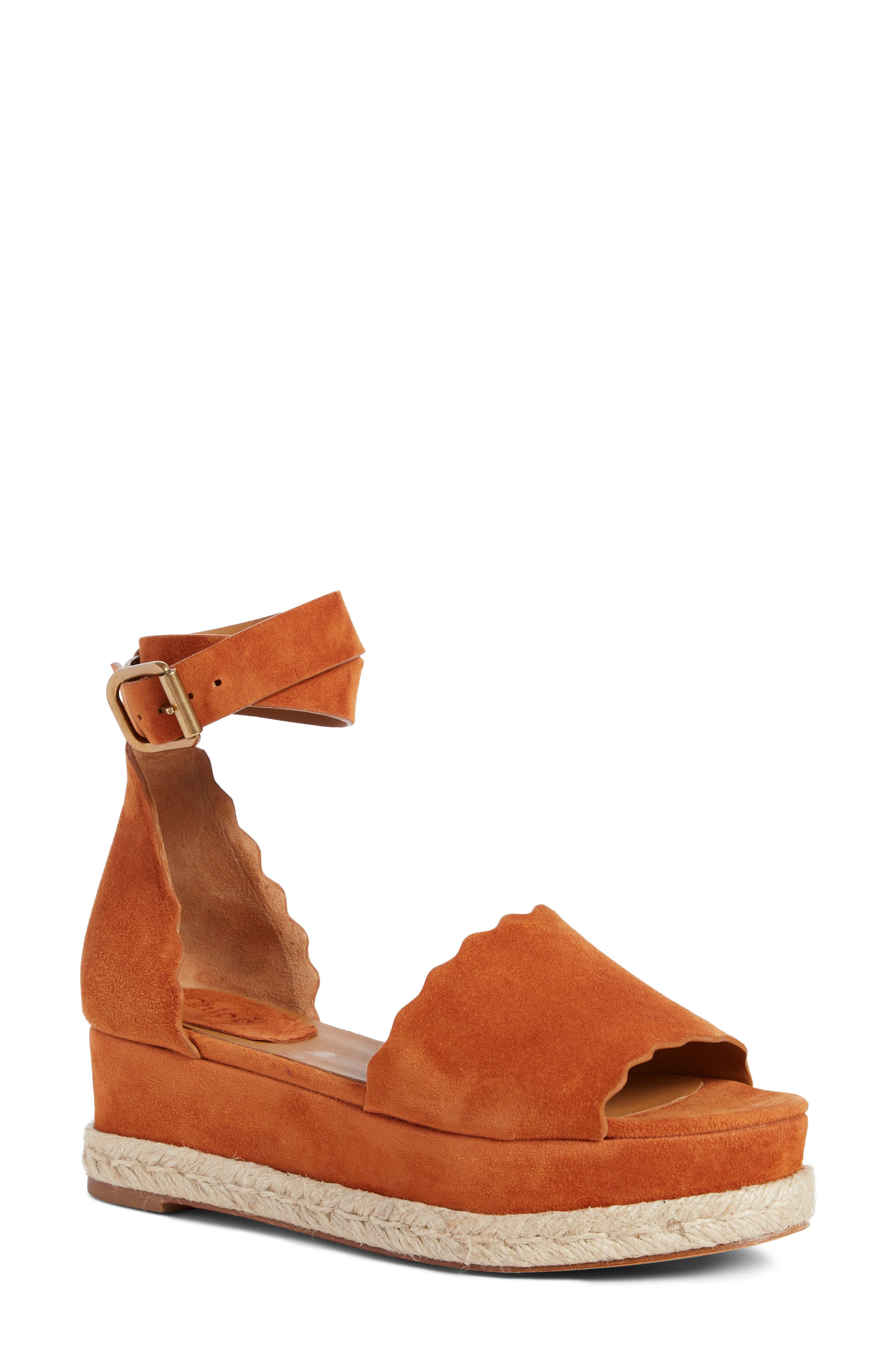 Lauren Espadrille Wedge Sandal,                         Main,                         color, OCHRE DELIGHT