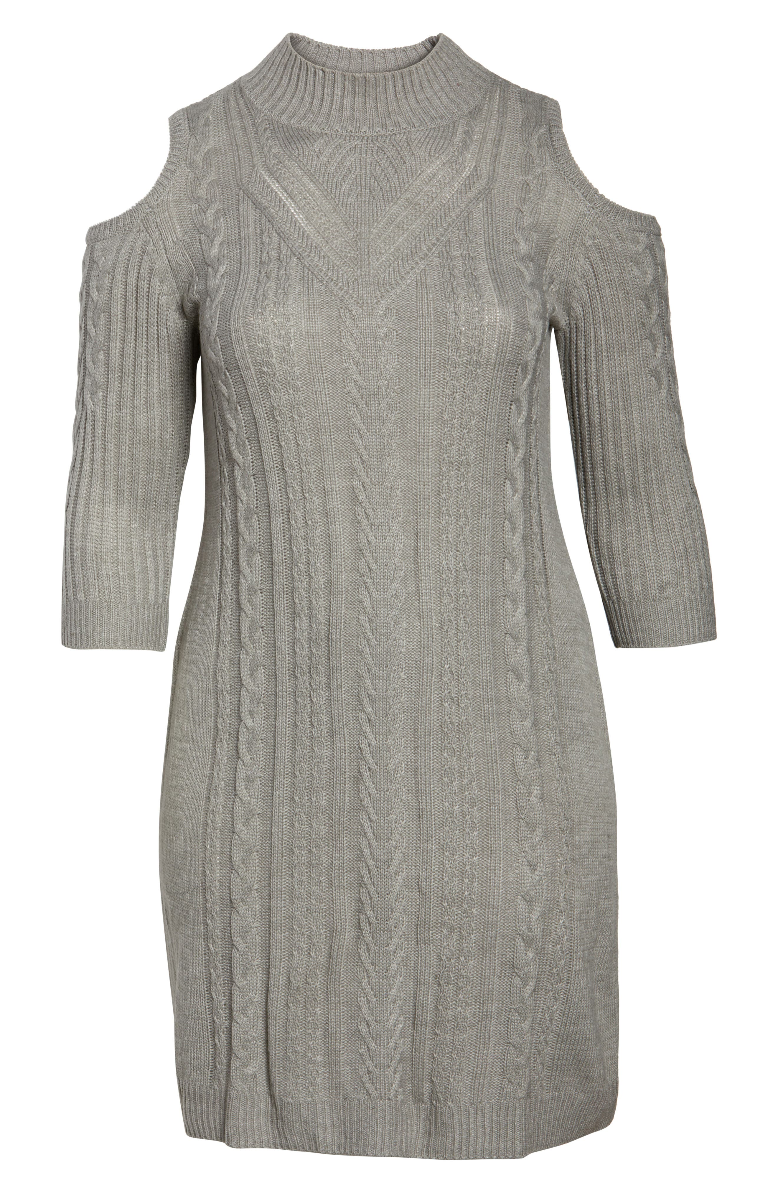 Cold Shoulder Cable Sweater Dress,                             Alternate thumbnail 7, color,                             021