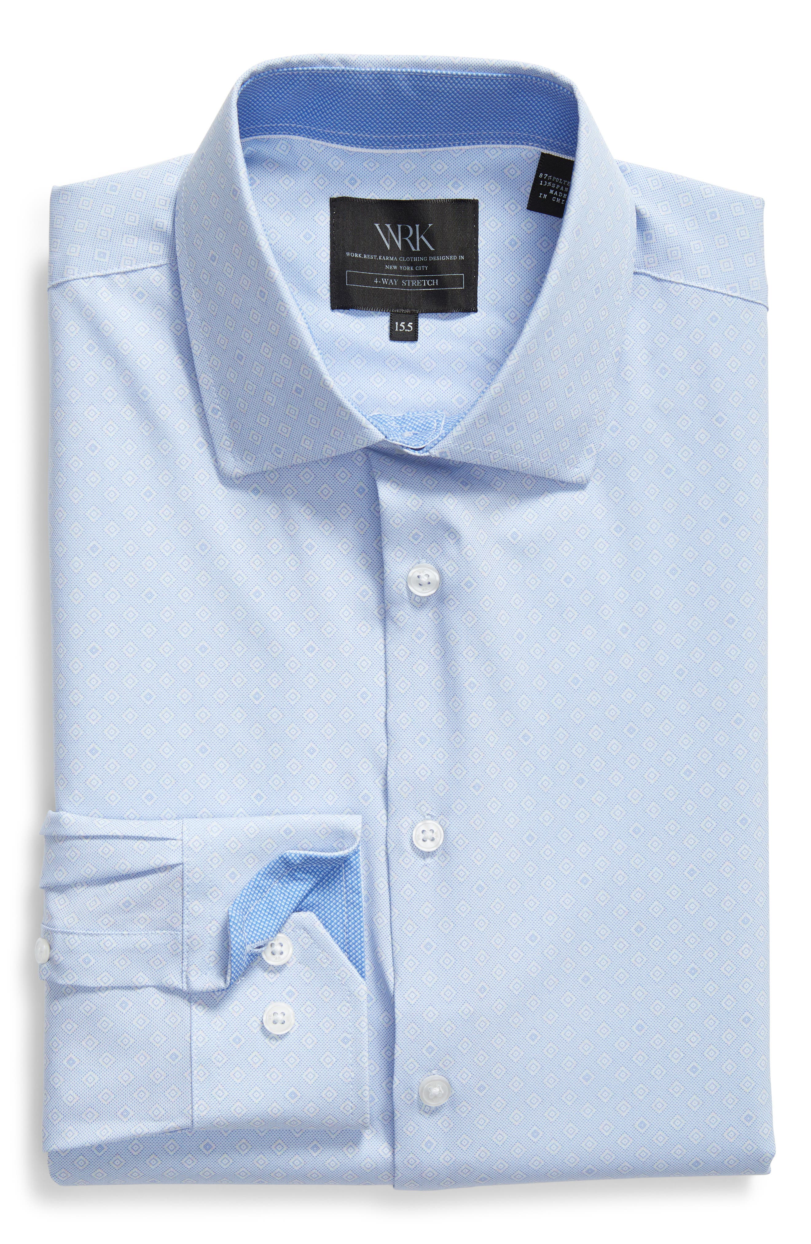 Trim Fit Geometric 4-Way Stretch Dress Shirt,                             Alternate thumbnail 5, color,                             BLUE