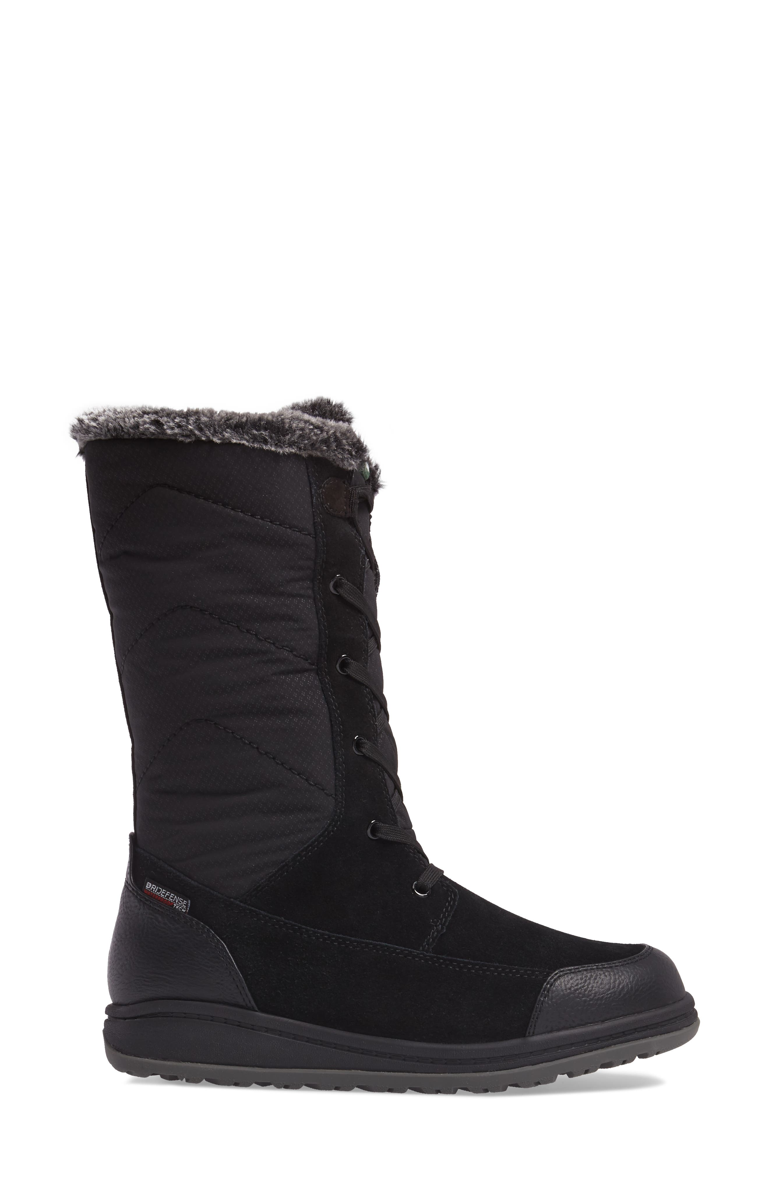 QuincyS Waterproof Boot,                             Alternate thumbnail 3, color,                             BLACK FABRIC