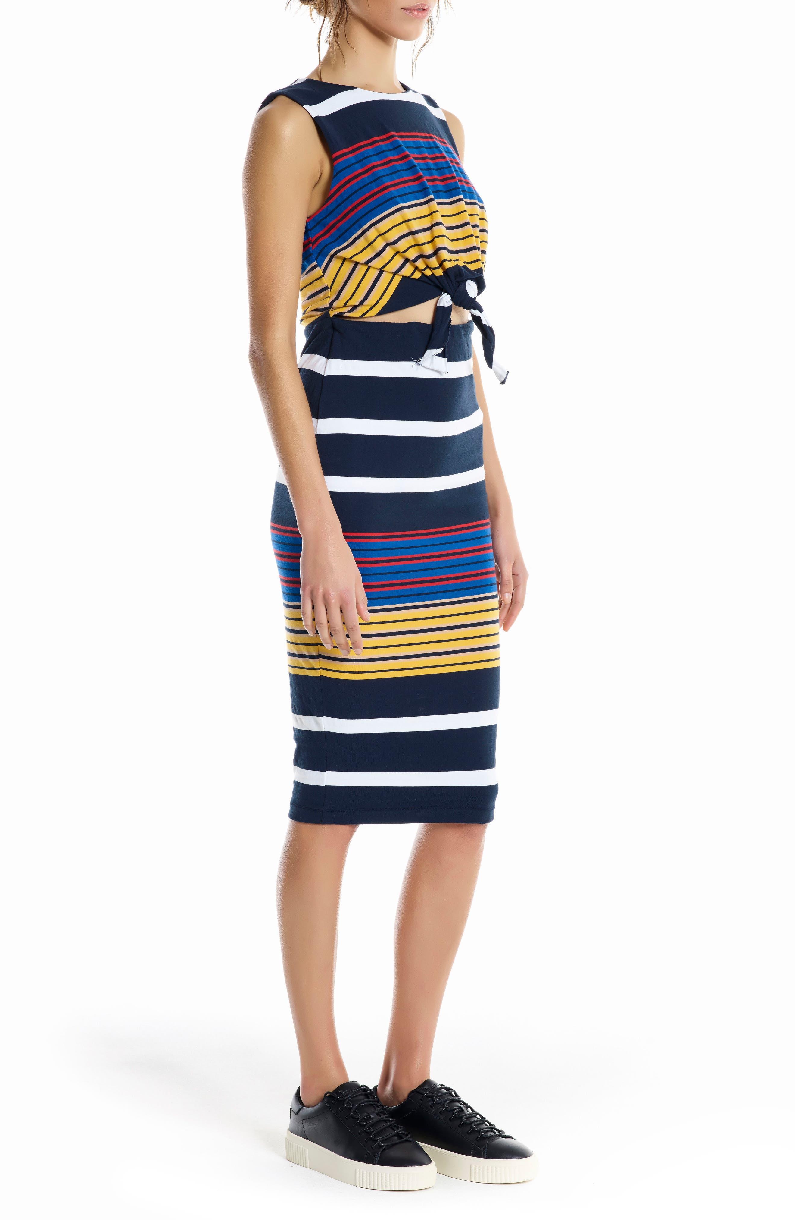 KENDELL + KYLIE Stripe Midi Dress,                             Alternate thumbnail 3, color,                             001