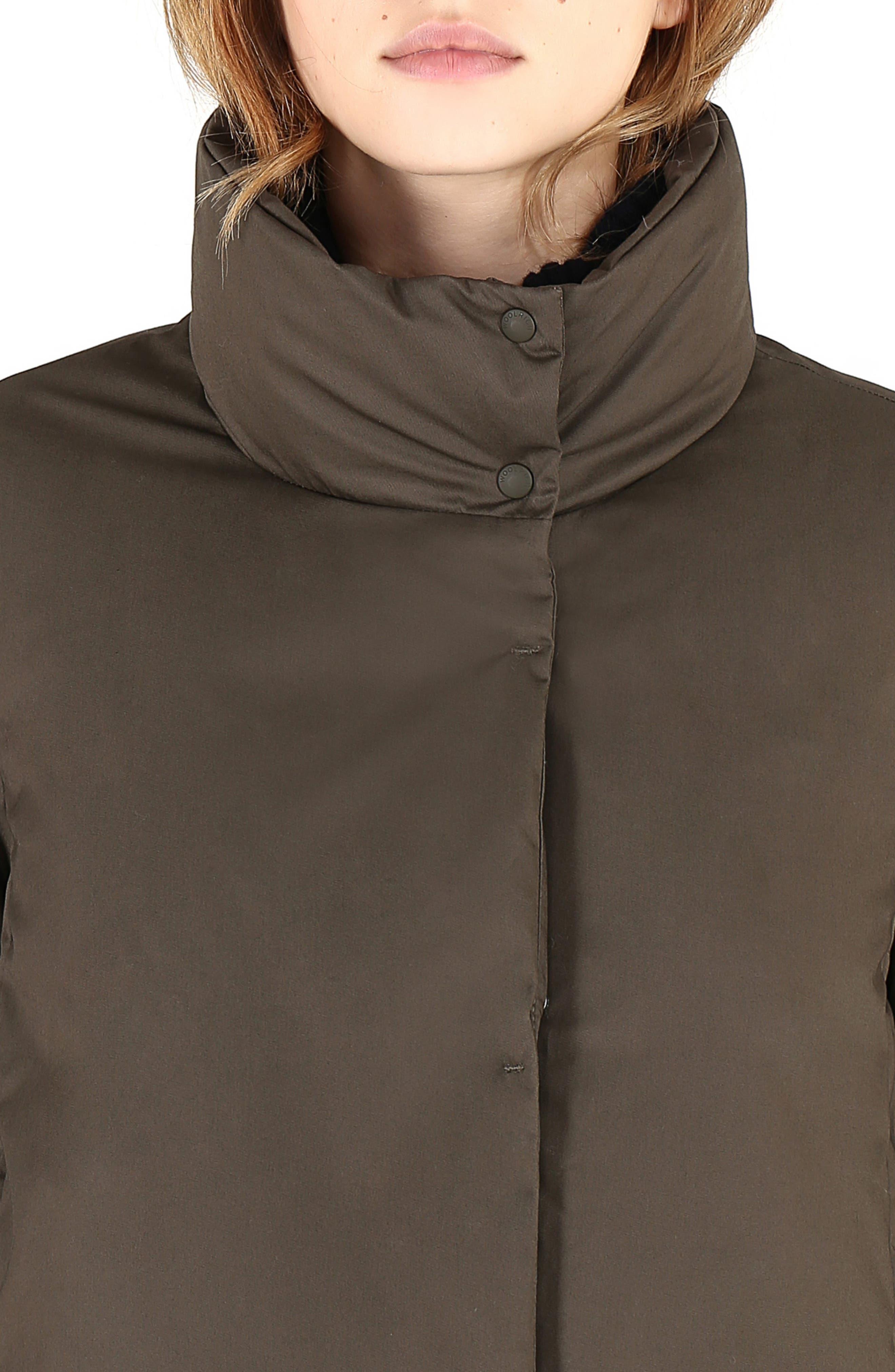 Cocoon Genuine Shearling Trim Down Coat,                             Alternate thumbnail 6, color,                             311