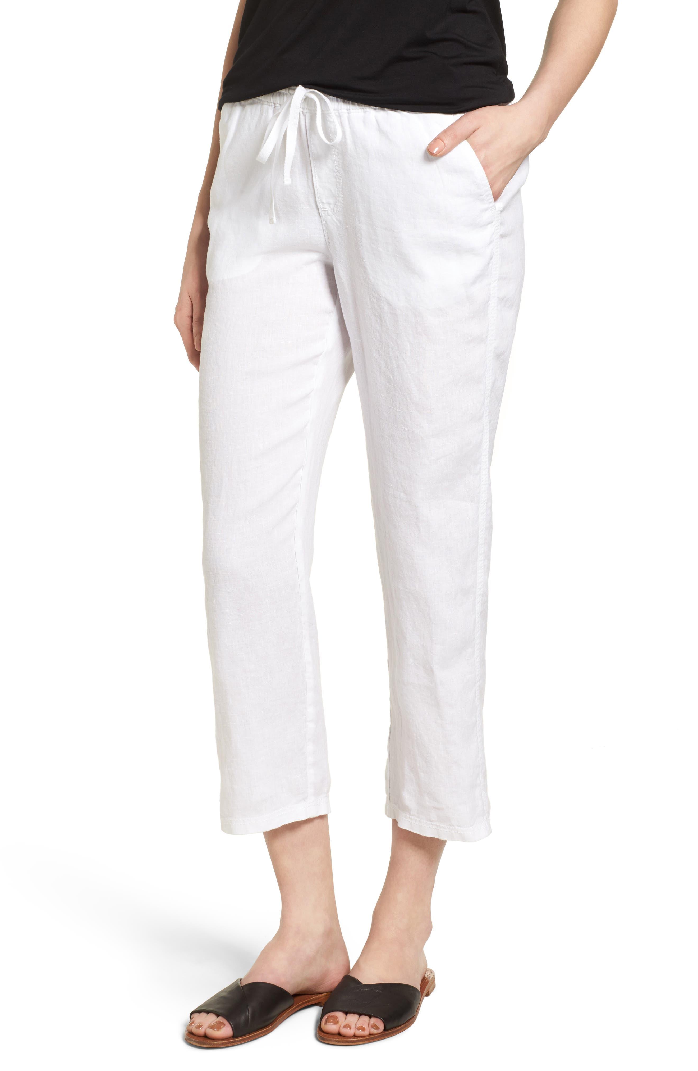 Linen Crop Pants,                             Main thumbnail 3, color,