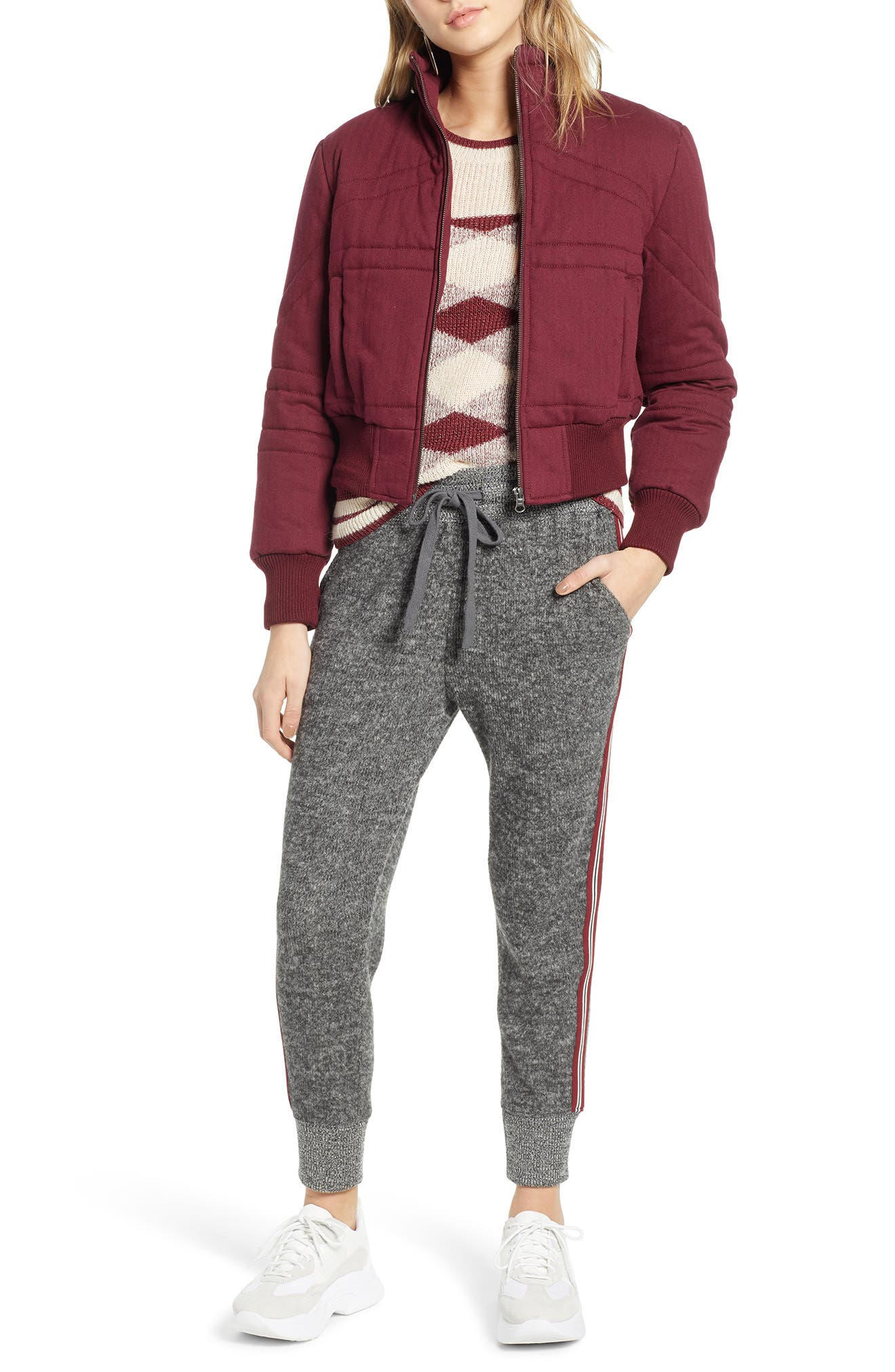 TREASURE & BOND,                             Flannel Crop Puffer Jacket,                             Alternate thumbnail 4, color,                             RED TANNIN HEATHER